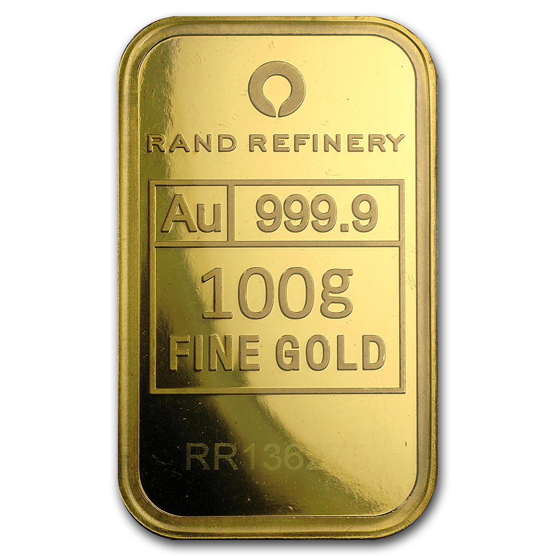 100 Gram Gold Bar Rand Elephant Mirage In Assay Gold