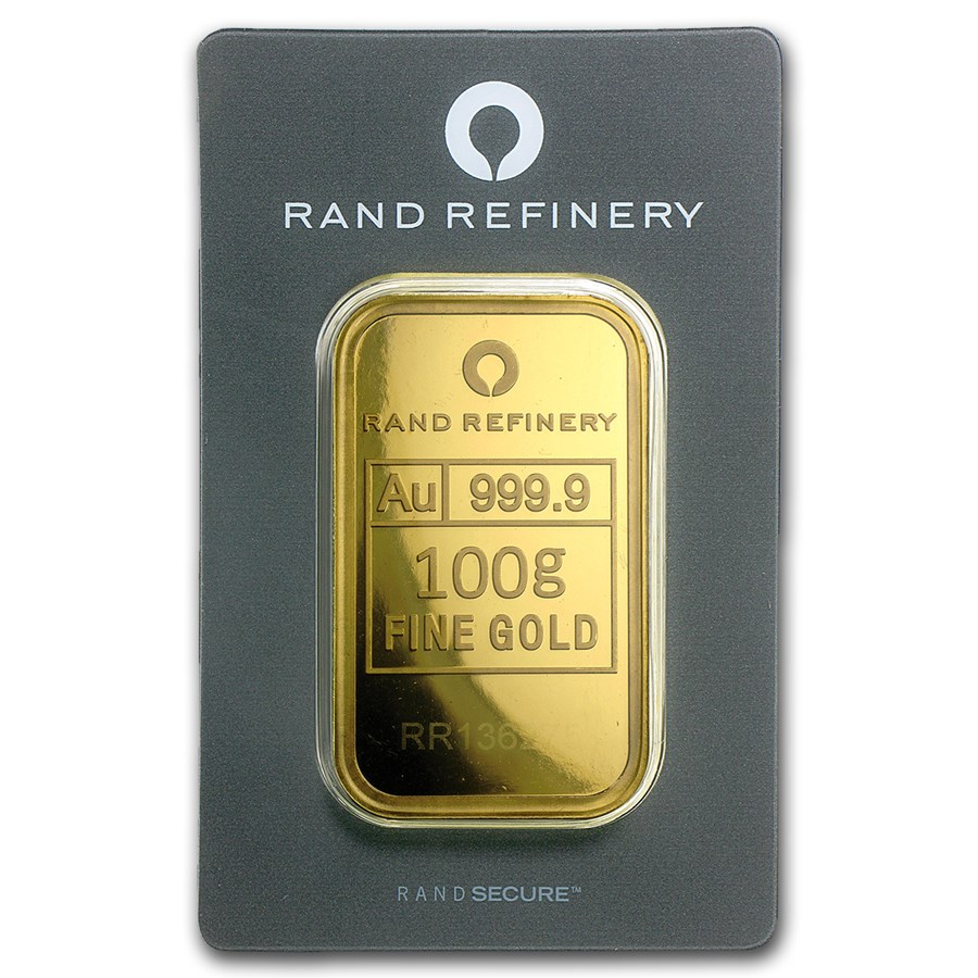 100 Gram Gold Bar Rand Elephant Mirage In Assay Gold