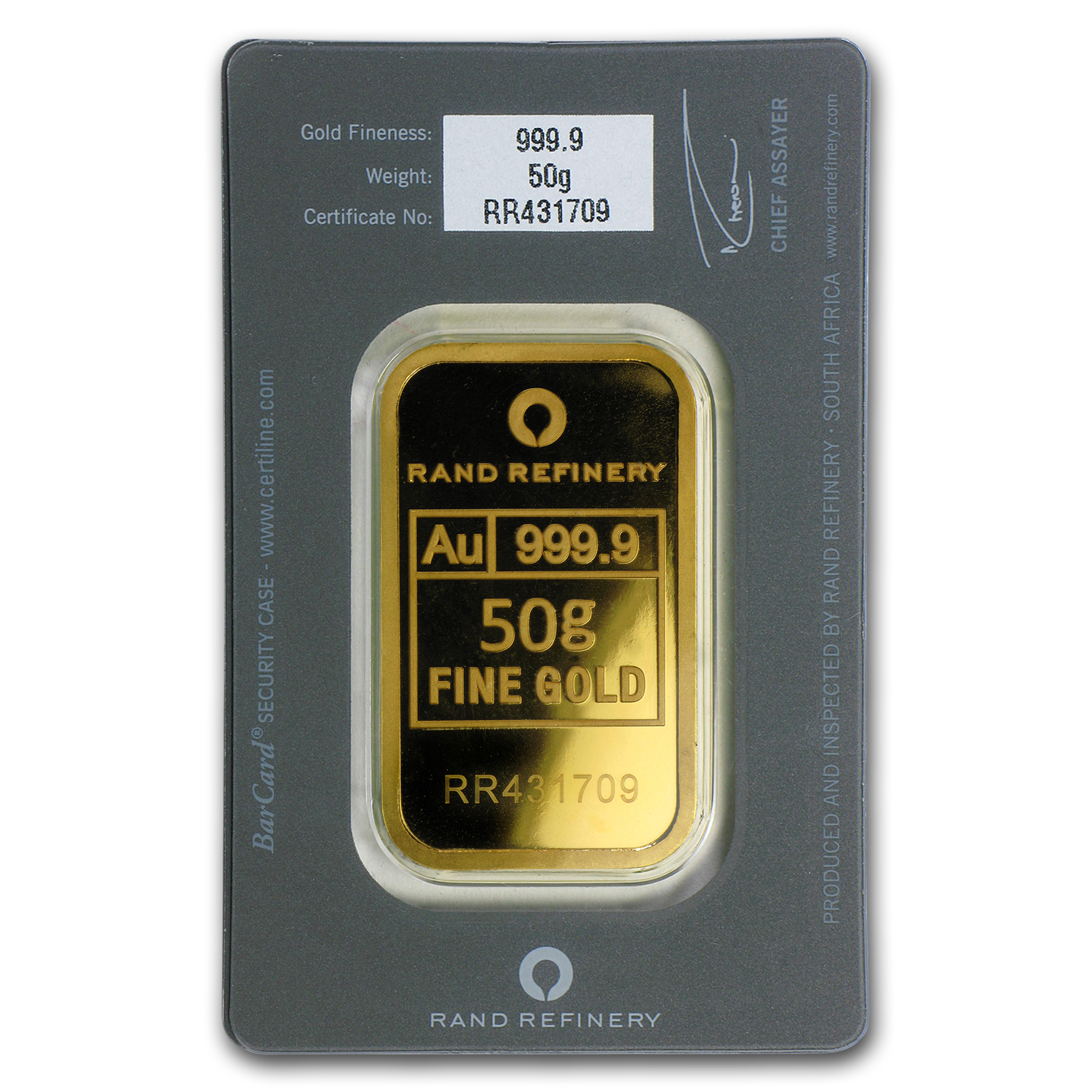 50 gram Gold Bar - Rand Elephant Mirage (In Assay)