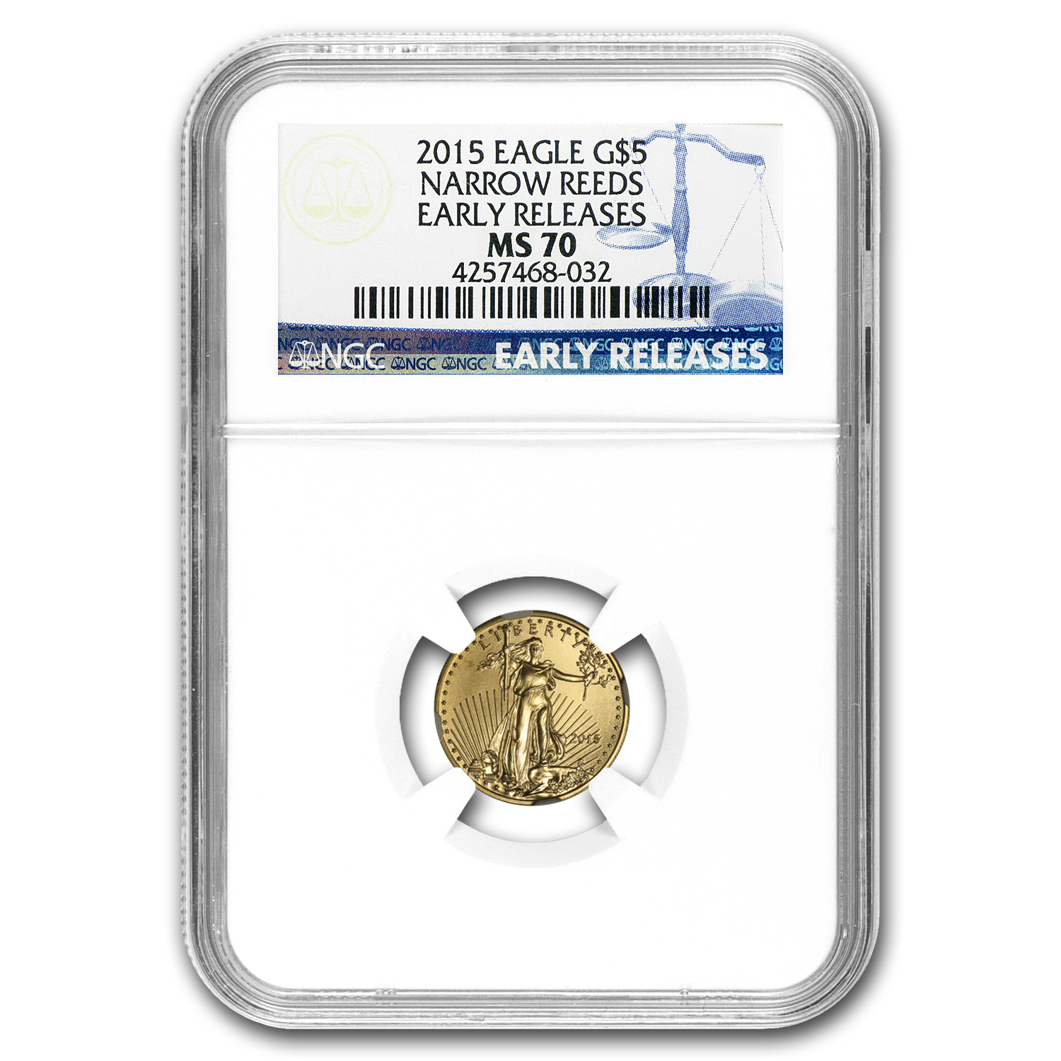2015 1/10 oz Gold American Eagle MS-70 NGC (Narrow Reeds, ER)