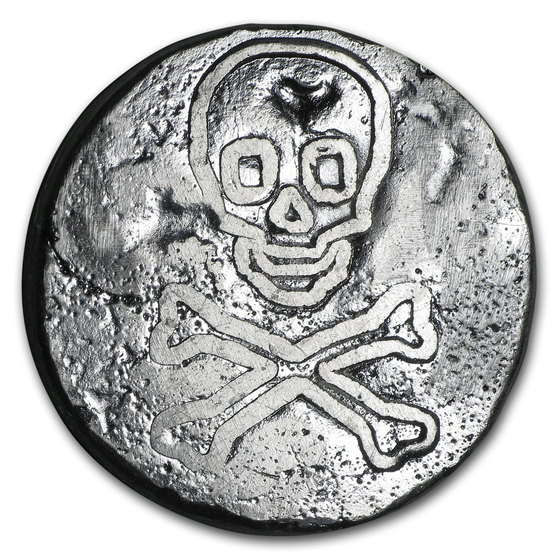 2 5 Oz Silver Round Skull Amp Crossbones Hand Poured