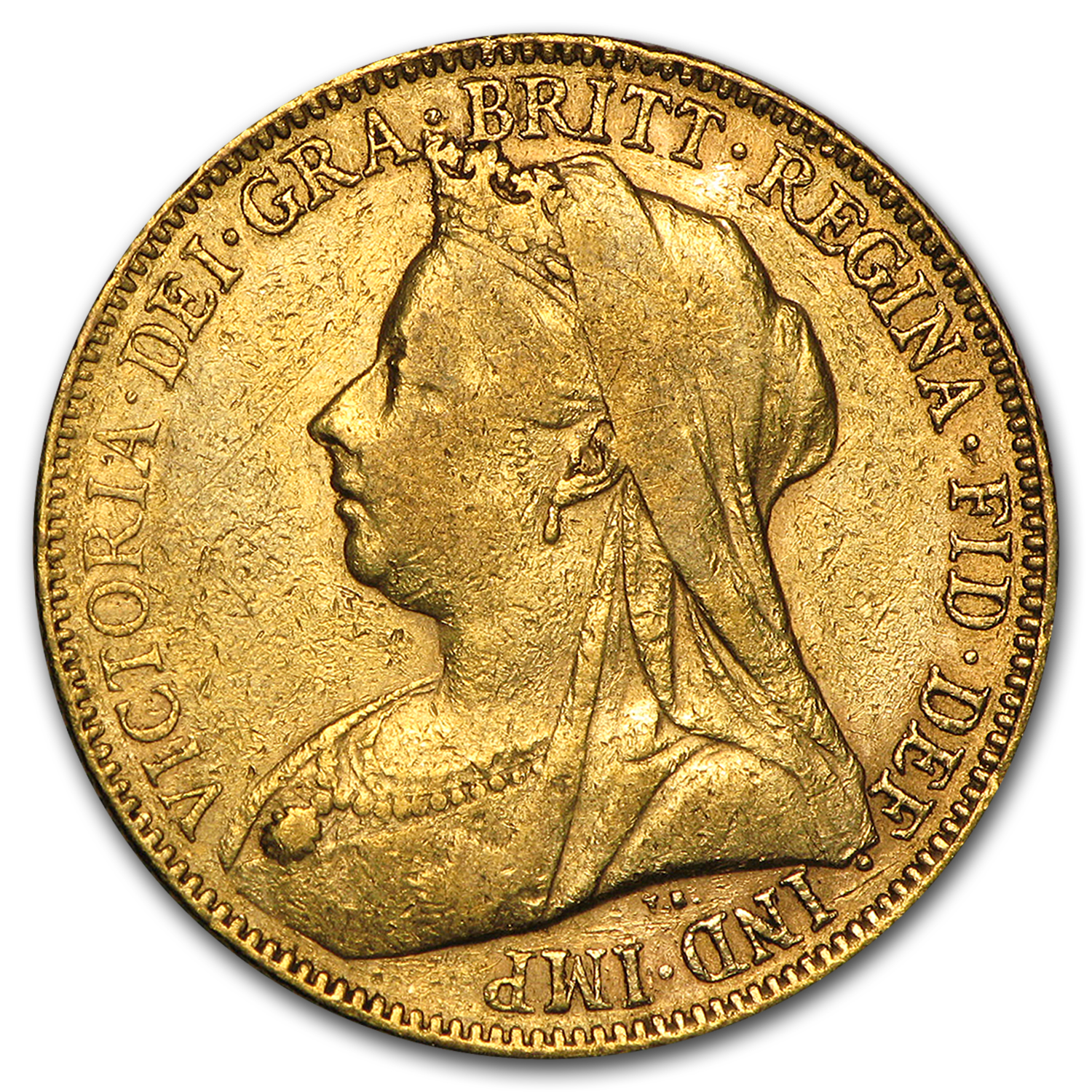1893-1901-P Australia Gold Sovereign Victoria Veil Head Avg Circ