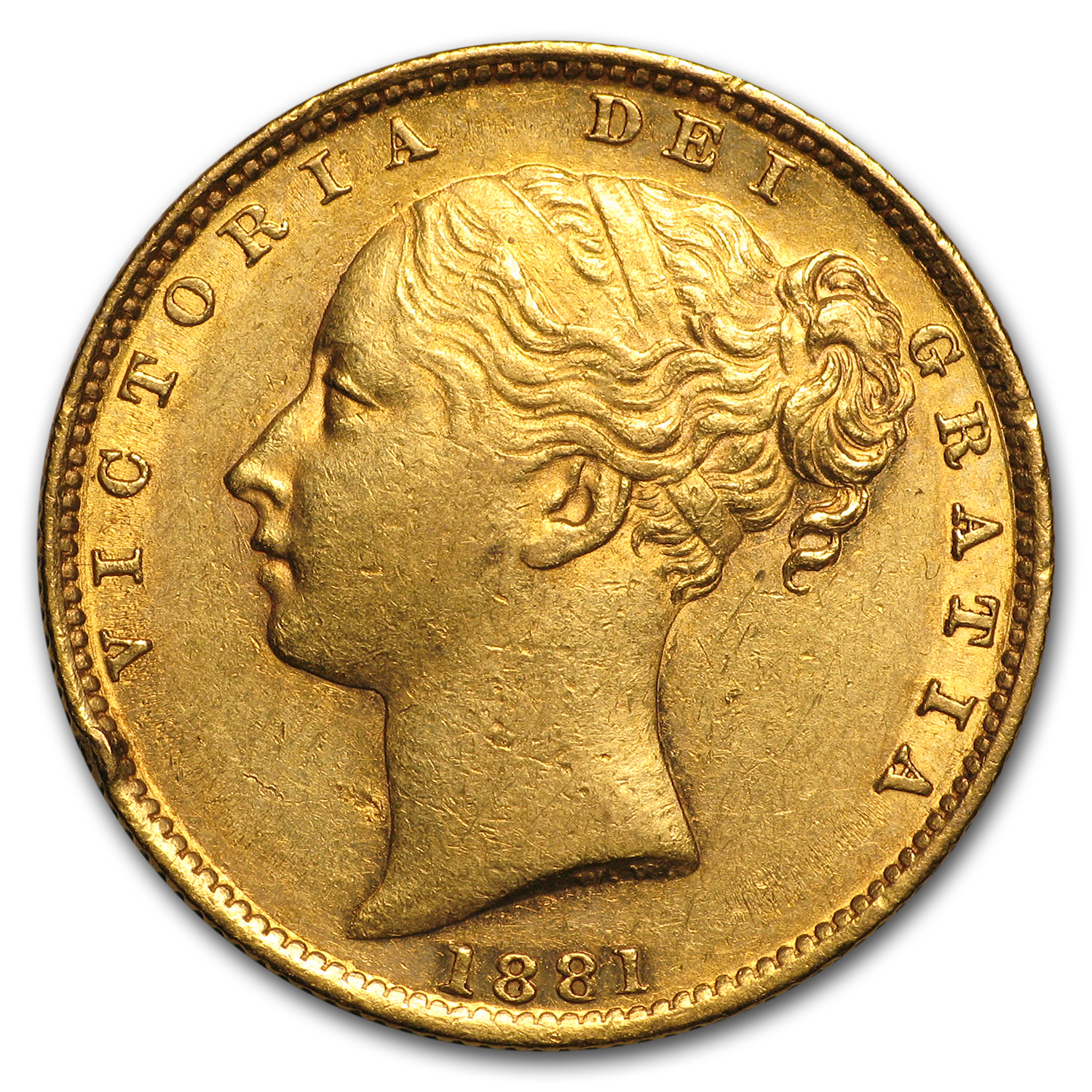 1871-1887-S Australia Gold Sovereign Victoria Shield (Scruffy)
