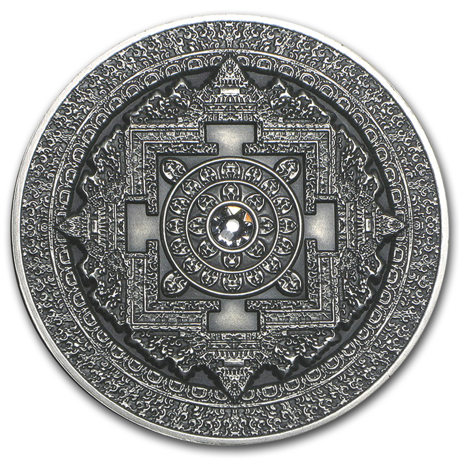 2015 Fiji 3 oz Antique Finish Silver $10 Mandala Art (Kalachakra)
