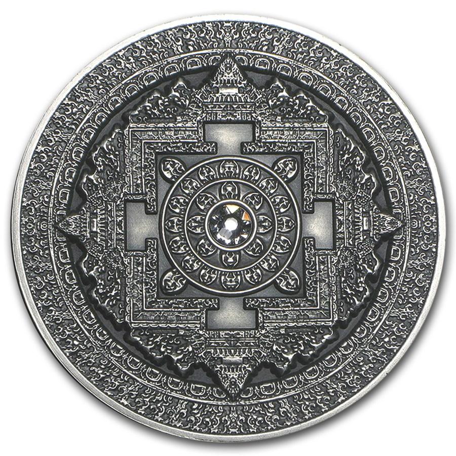 2015 Fiji 3 Oz Antique Finish Silver 10 Mandala Art