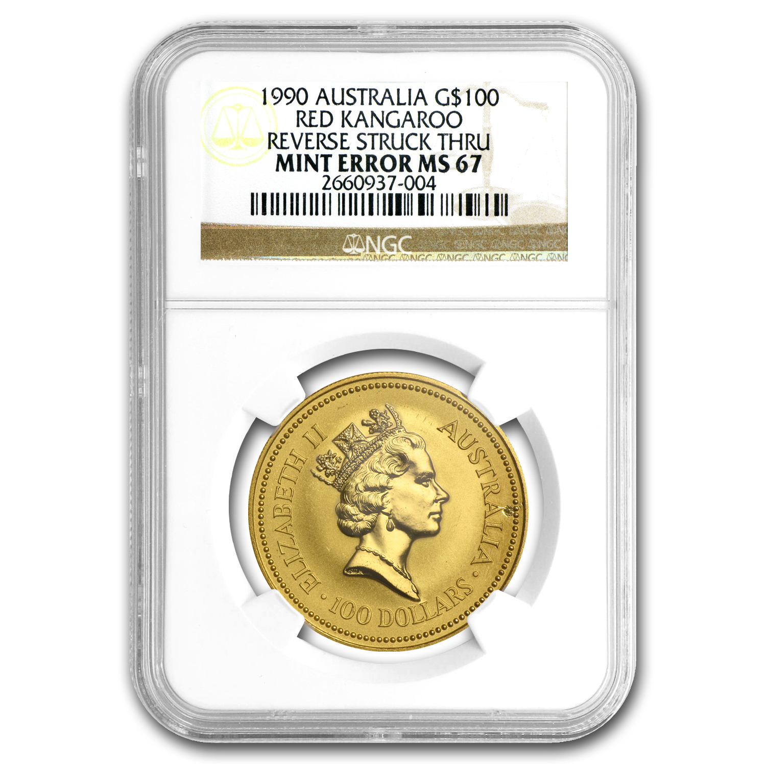 1990 AUS 1 oz Gold Nugget Reverse Struck Thru MS-67 (Mint Error)