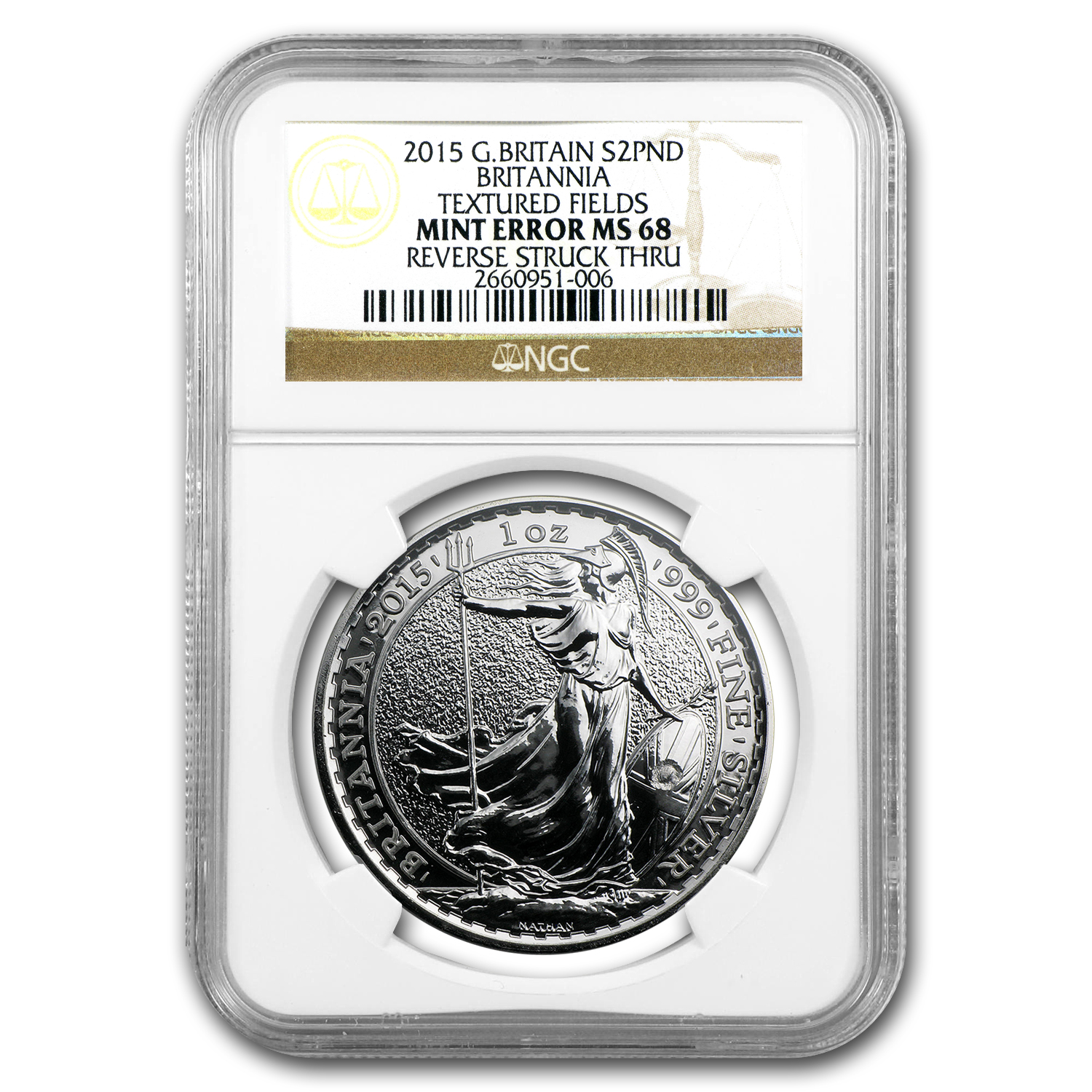 2015 1 oz Silver Britannia Rev Struck Thru MS-68 NGC (Mint Error)