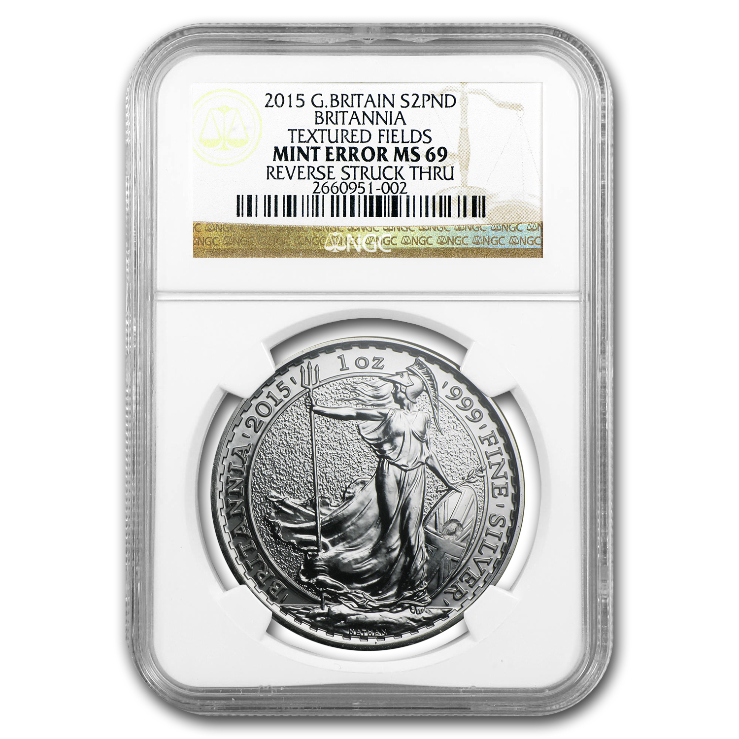 2015 1 oz Silver Britannia Rev Struck Thru MS-69 NGC (Mint Error)