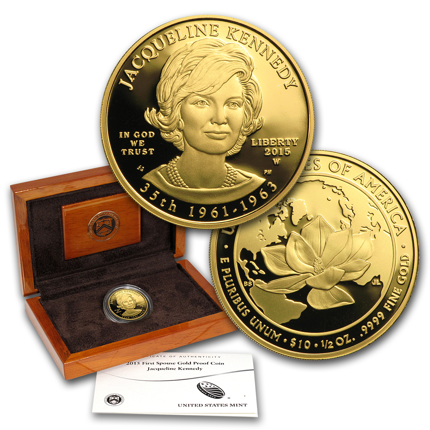 2015-W 1/2 oz Proof Gold Jacqueline Kennedy (w/Box & COA)