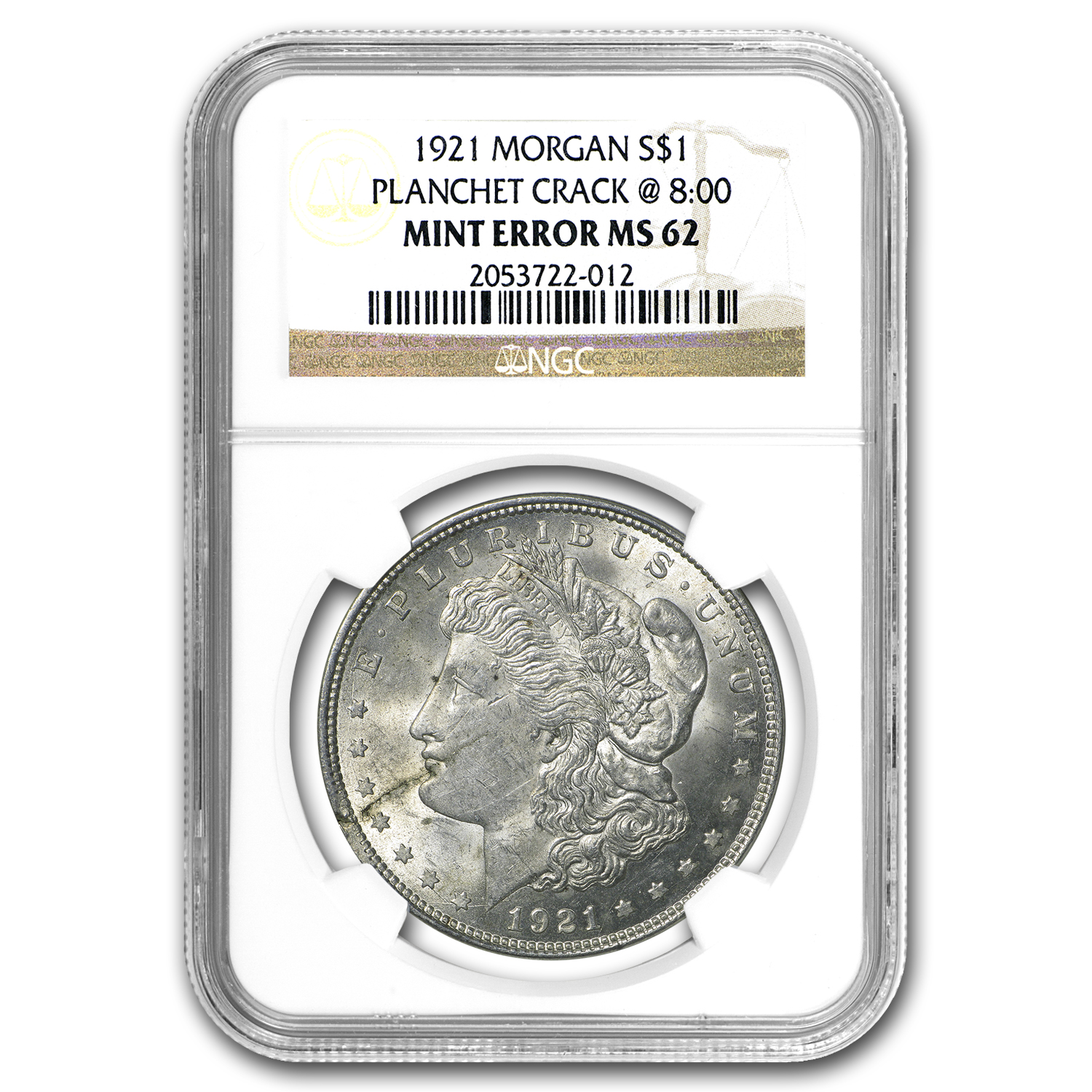 1921 Morgan Dollar MS-62 NGC (Planchet Crack Mint Error)