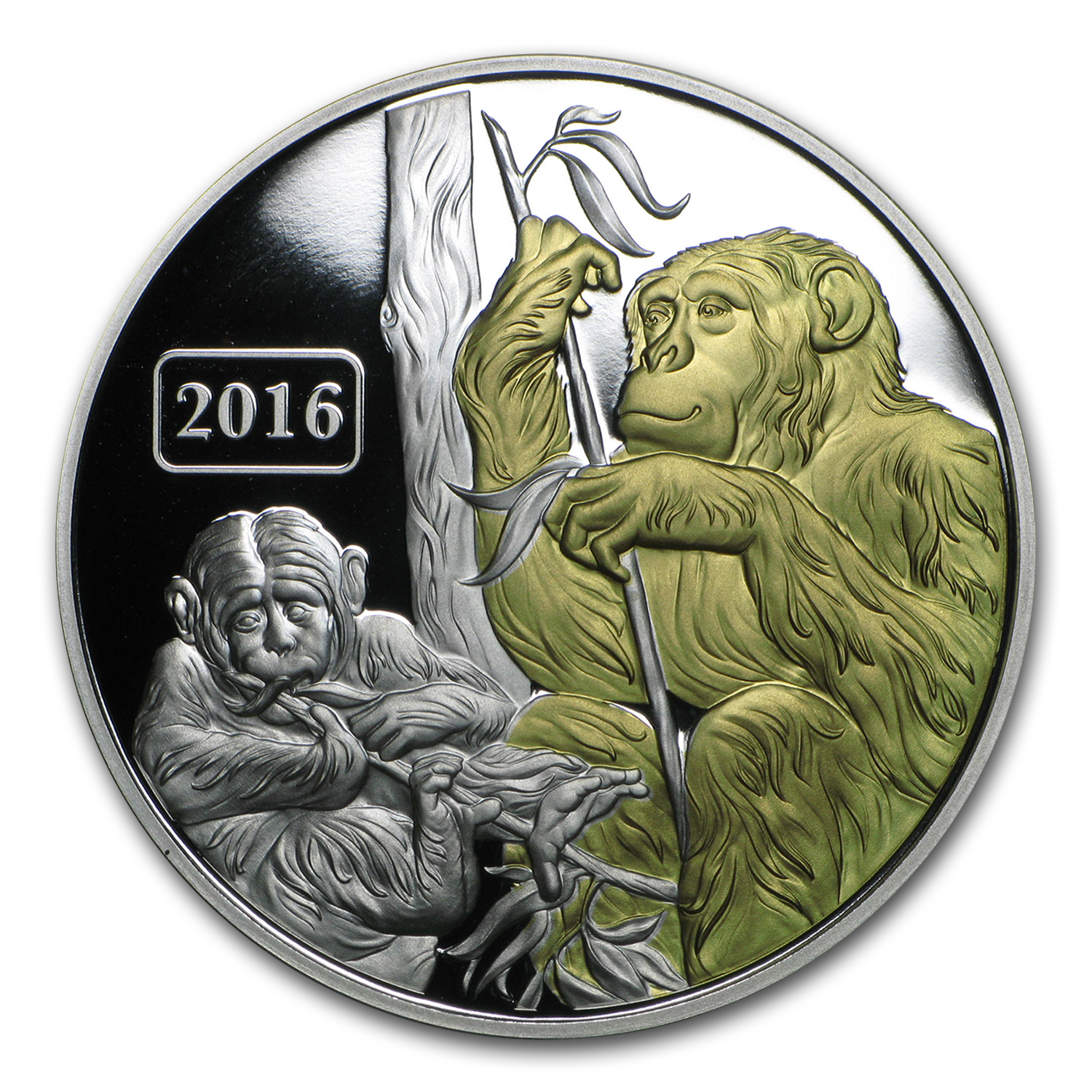 2016 Tokelau 1 oz Proof Silver Year of the Monkey (Gilded)