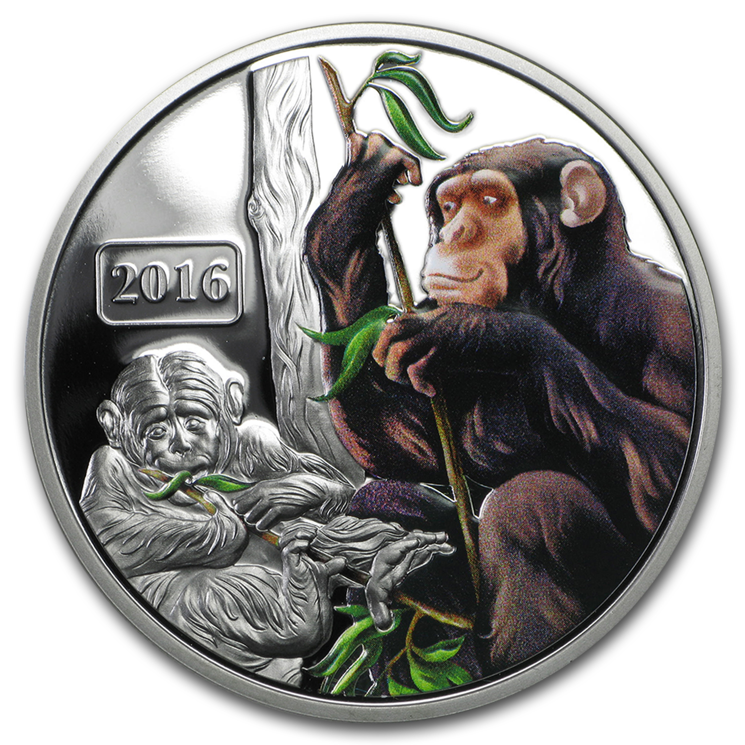2016 Tokelau 1 oz Proof Silver Year of the Monkey Family (Color)