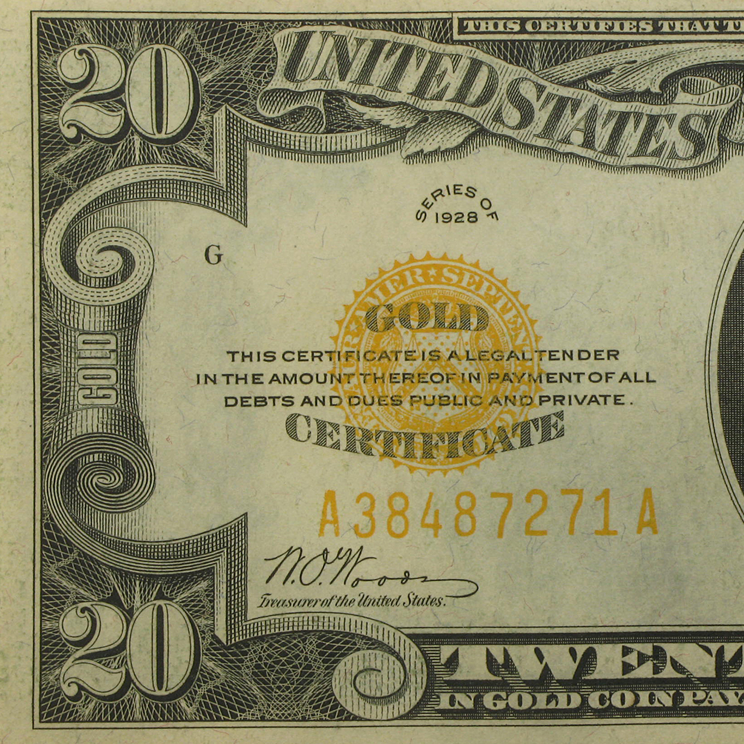 1928 $20 Gold Certificate XF Details