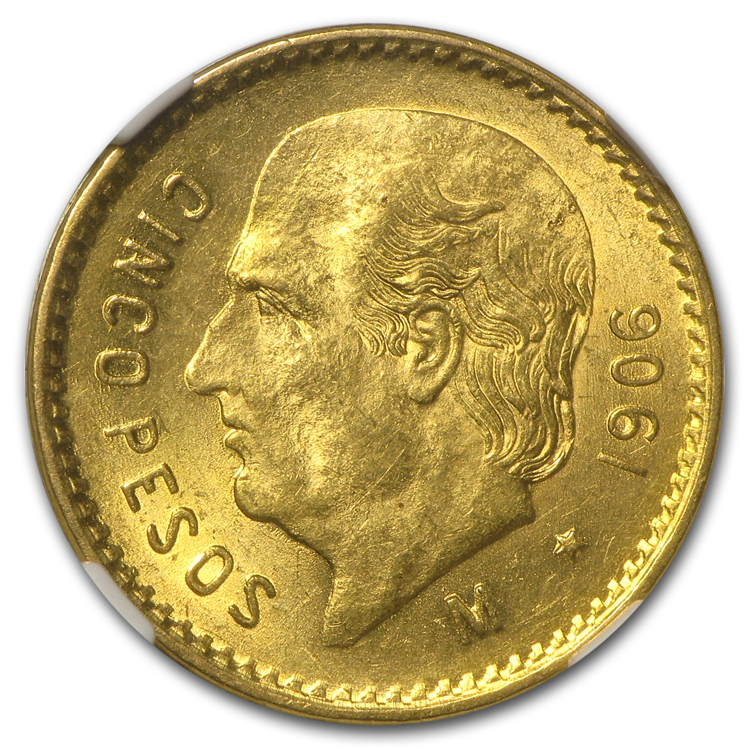1906 Mexico Gold 5 Pesos MS-63 NGC