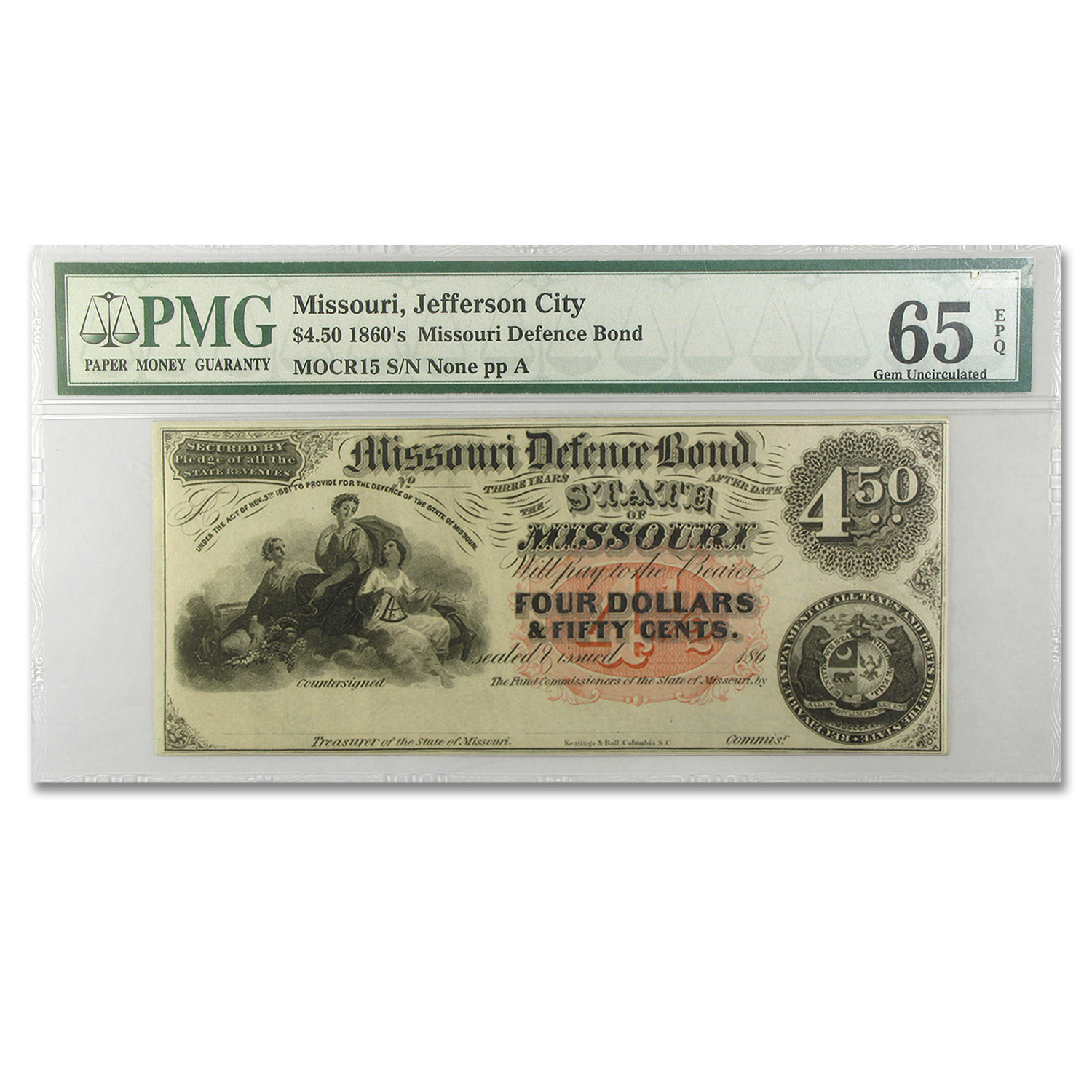 186_ State of Missouri Defence Bonds $4.50 Gem Unc-65 PMG
