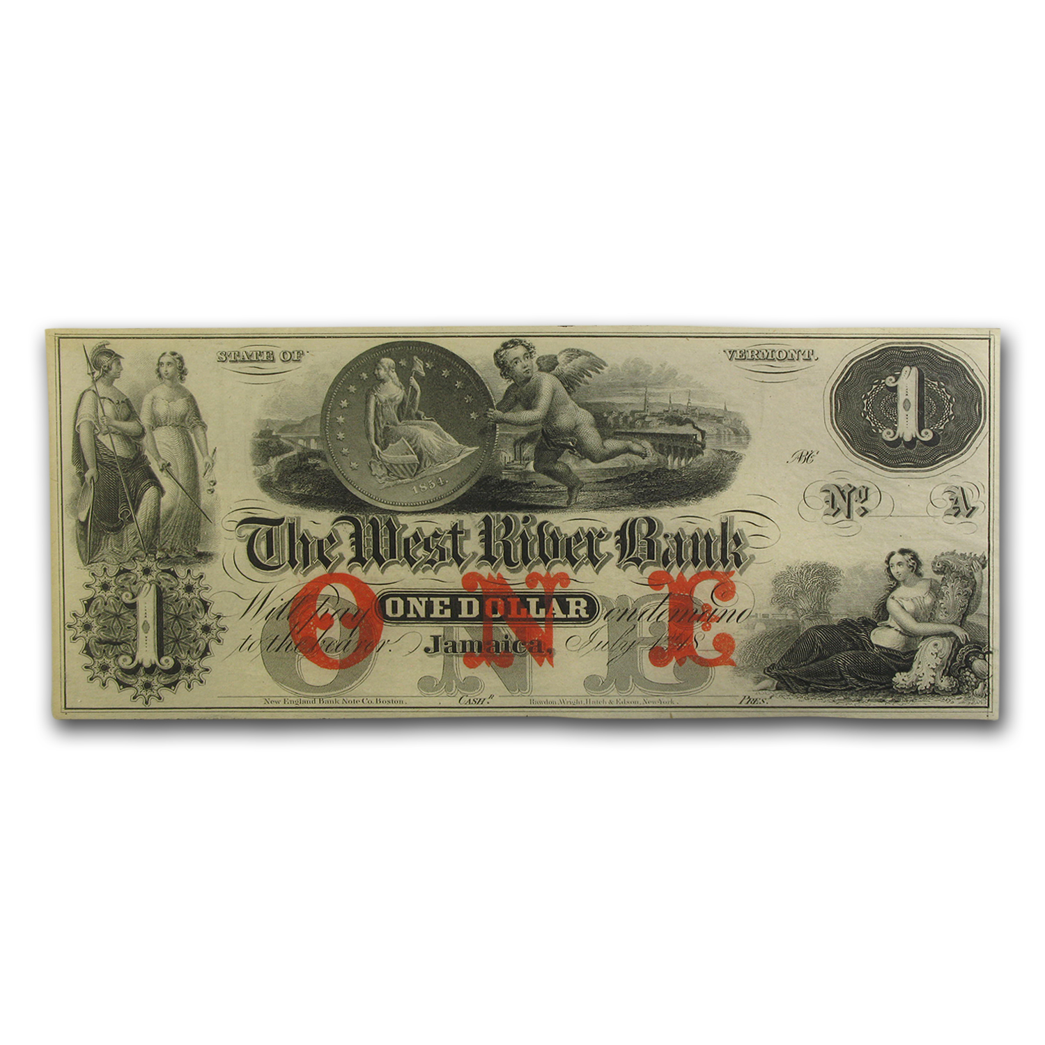 18__ The West River Bank, Jamaica, VT $1.00 Note AU-55 PMG