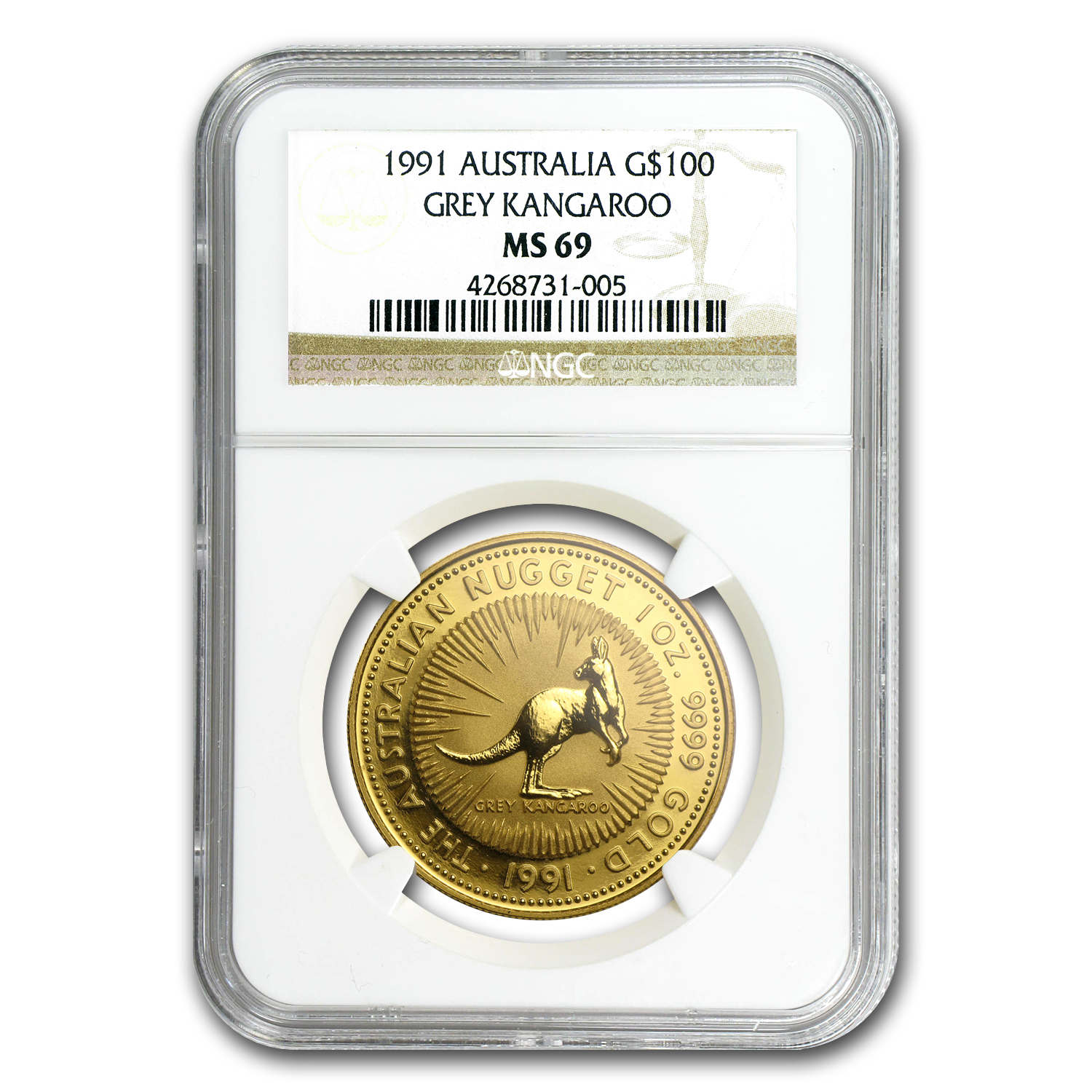 1991 Australia 1 oz Gold Nugget MS-69 NGC