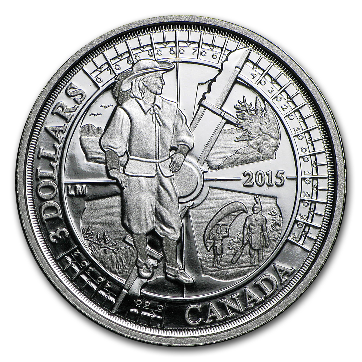 2015 Canada 1/4 oz Proof Silver $3 Anniv of Samuel de Champlain