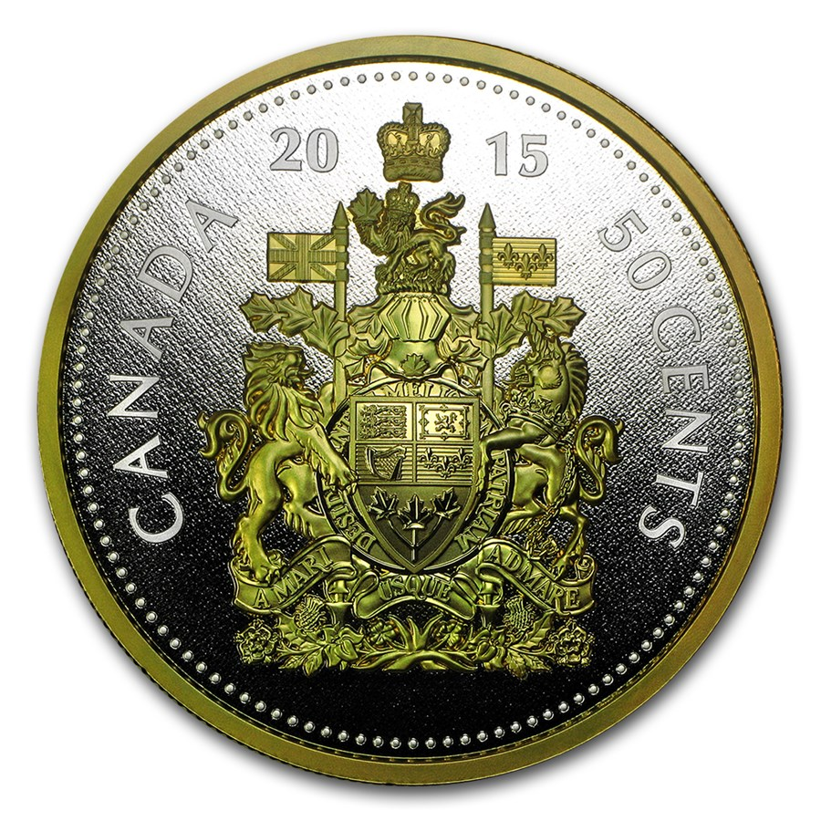 2015 Canada 5 Oz Proof Silver Big Coin Series 50 Cent