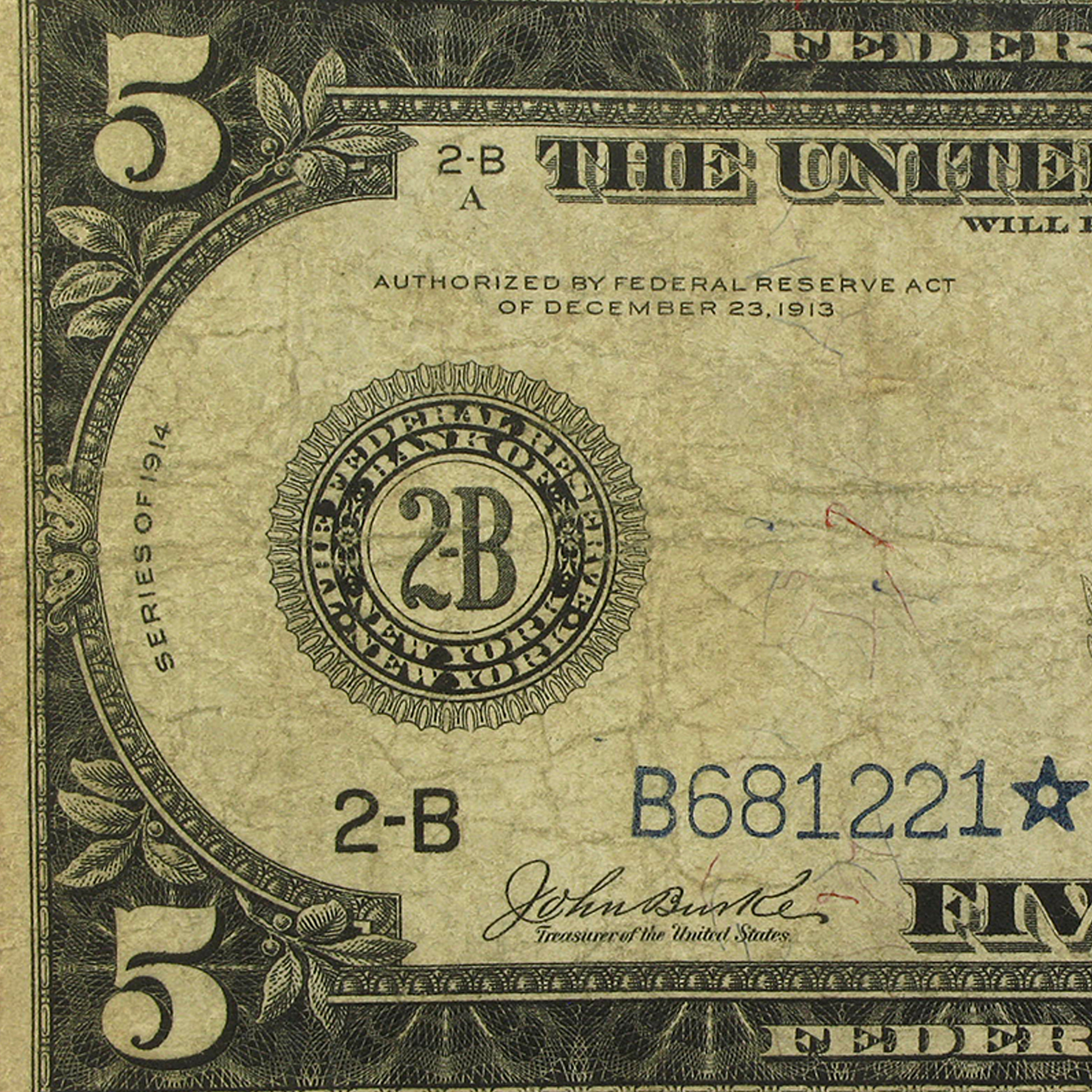 1914* (B-New York) $5.00 FRN Fine (Star Note)