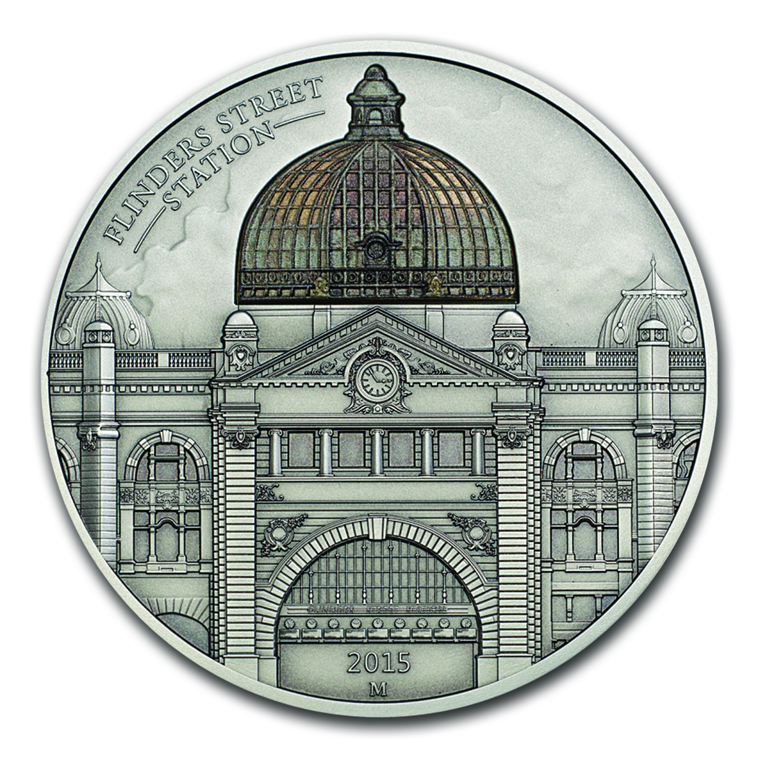 2015 Cook Islands 2 oz Silver $10 Flinders Street Station