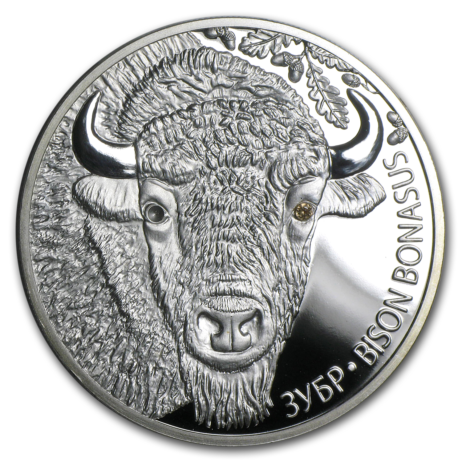 2012 Belarus 1 oz Silver Proof 20 Rubles Bison (Damaged)
