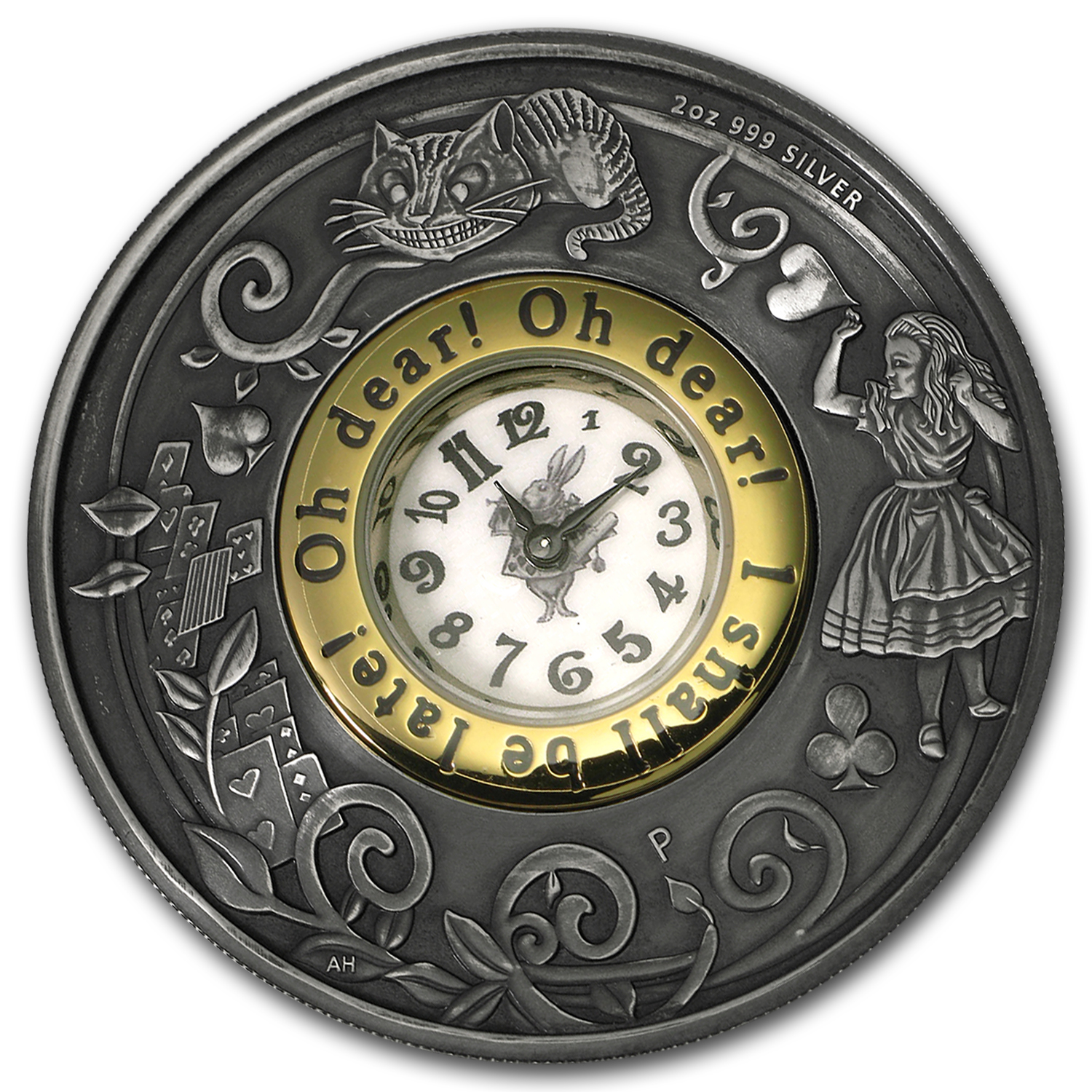 2015 Australia 2 oz Silver Alice in Wonderland Antiqued (Clock)