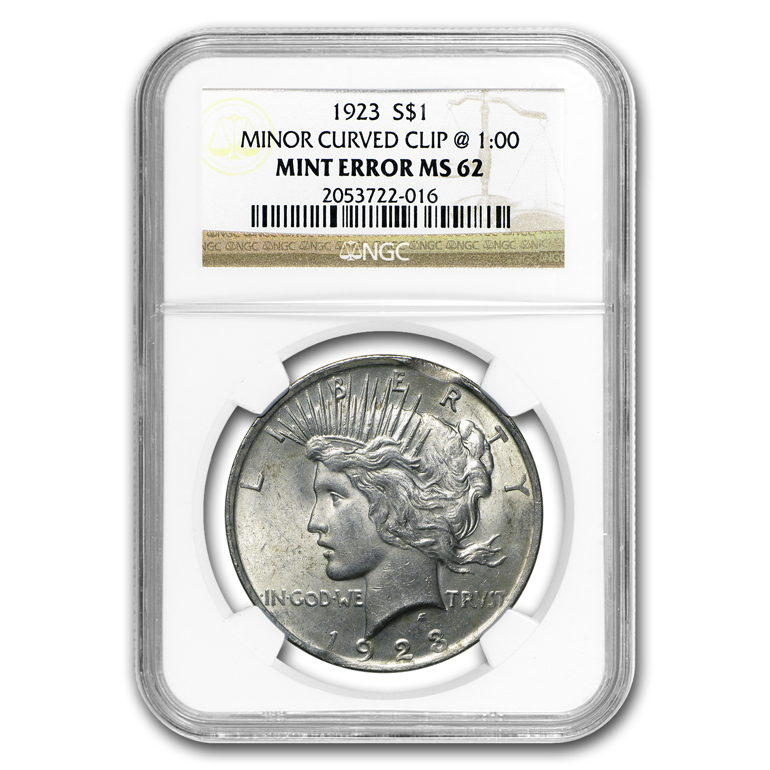 1923 Peace Dollar MS-62 NGC (Curved Clip Planchet Mint Error)