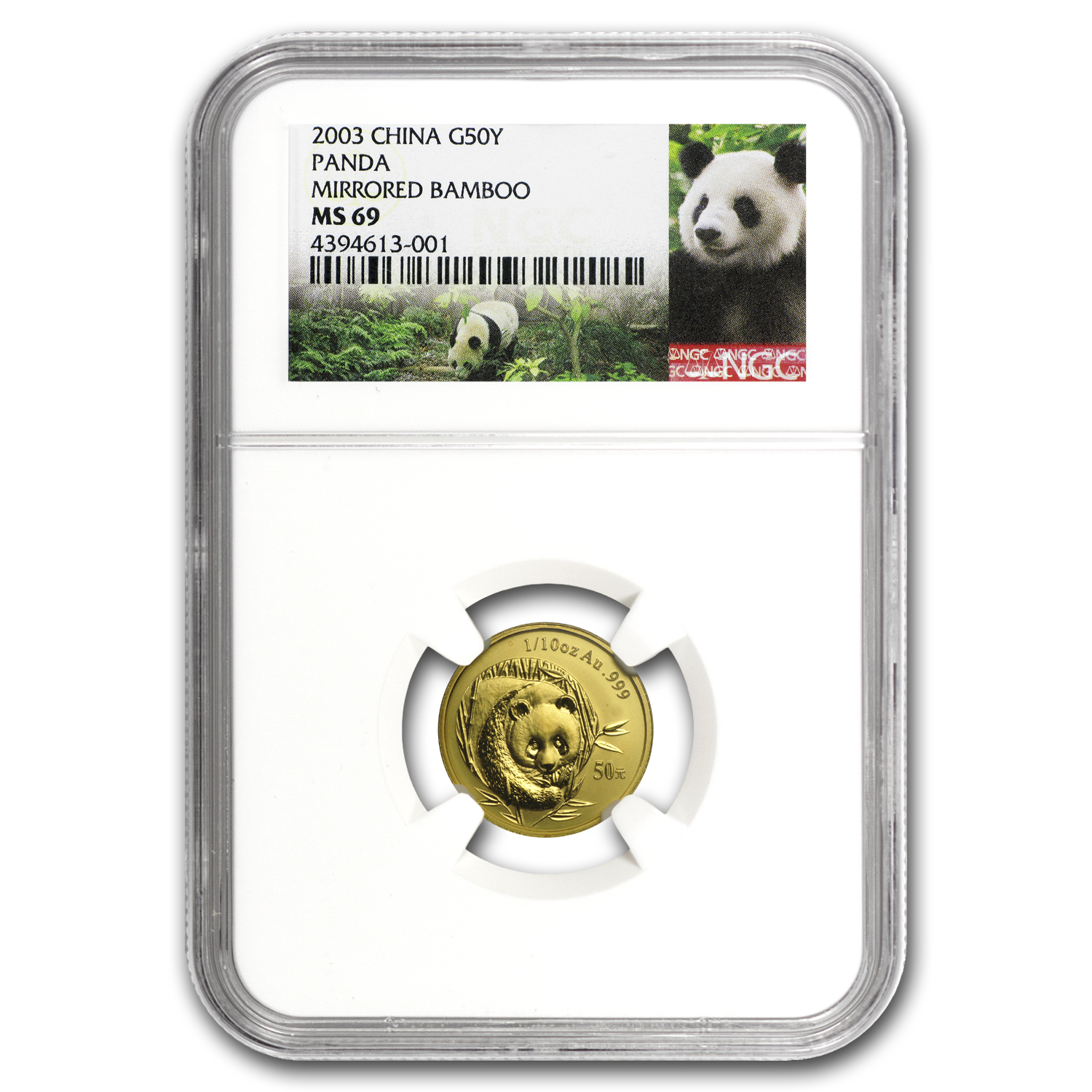 2003 China 1/10 oz Gold Panda MS-69 NGC (Mirrored Bamboo)