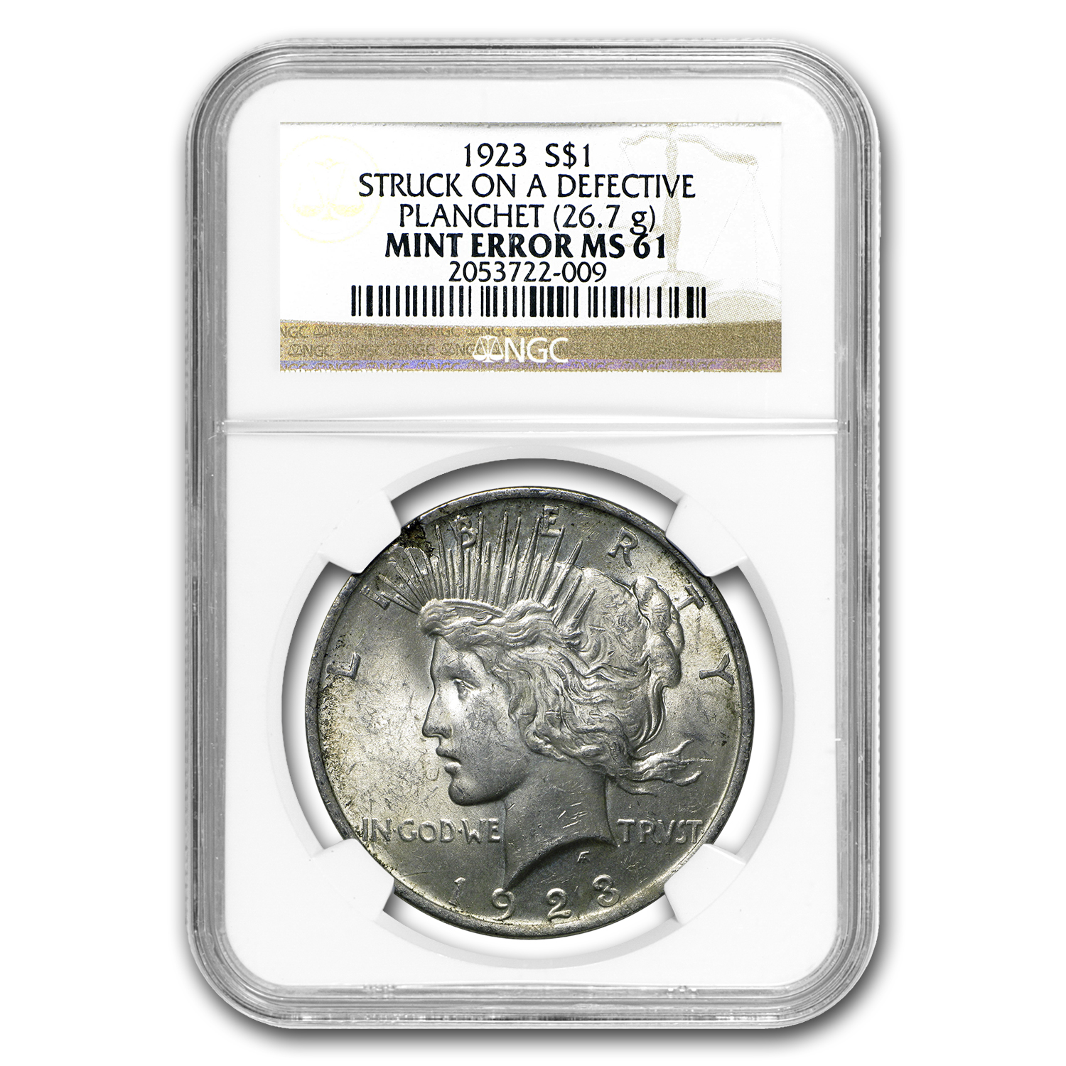 1923 Peace Dollar MS-61 NGC (Defective Planchet Mint Error)
