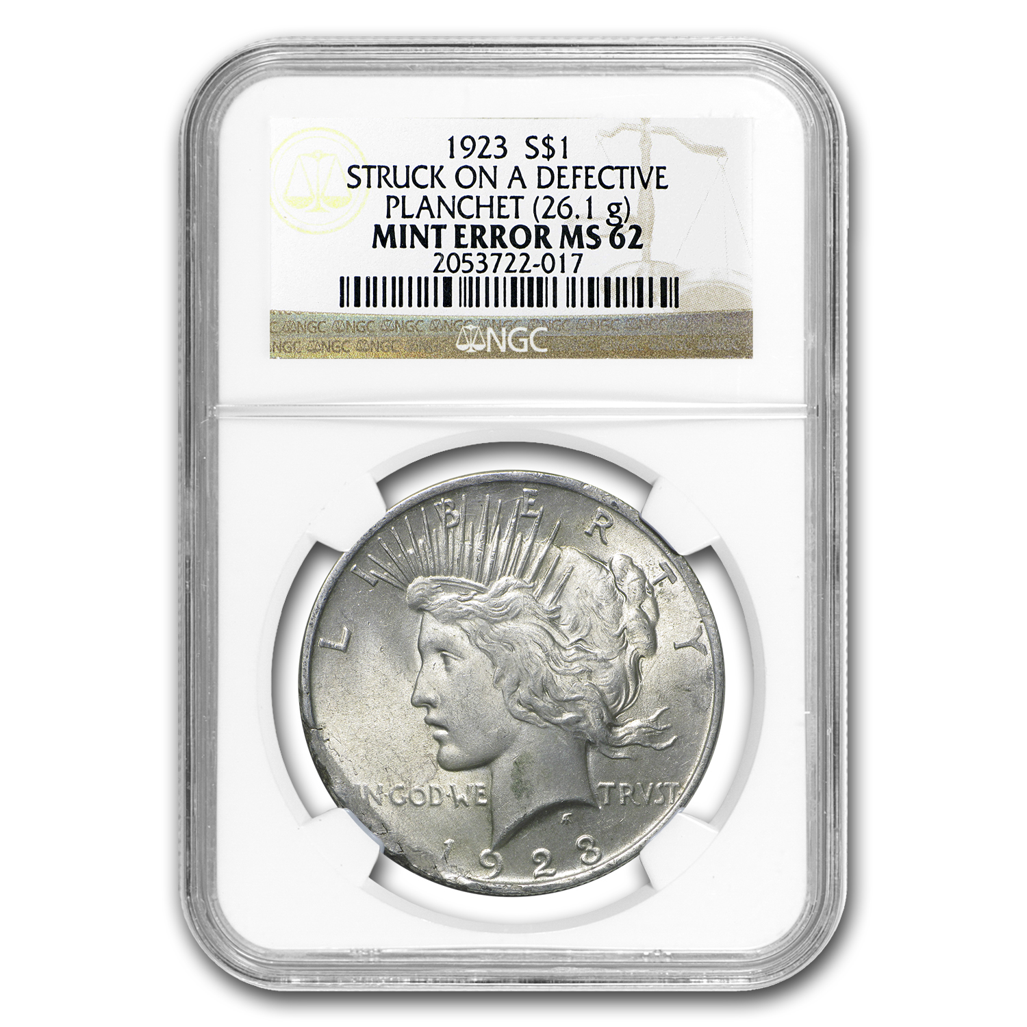 1923 Peace Dollar MS-62 NGC (Defective Planchet Mint Error)