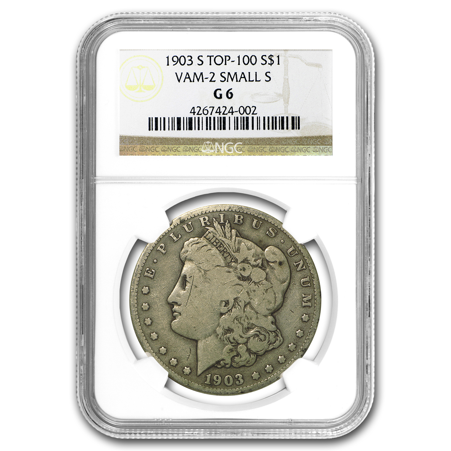 1903-S Morgan Dollar Good-6 NGC (VAM-2, Micro-S, Top-100)