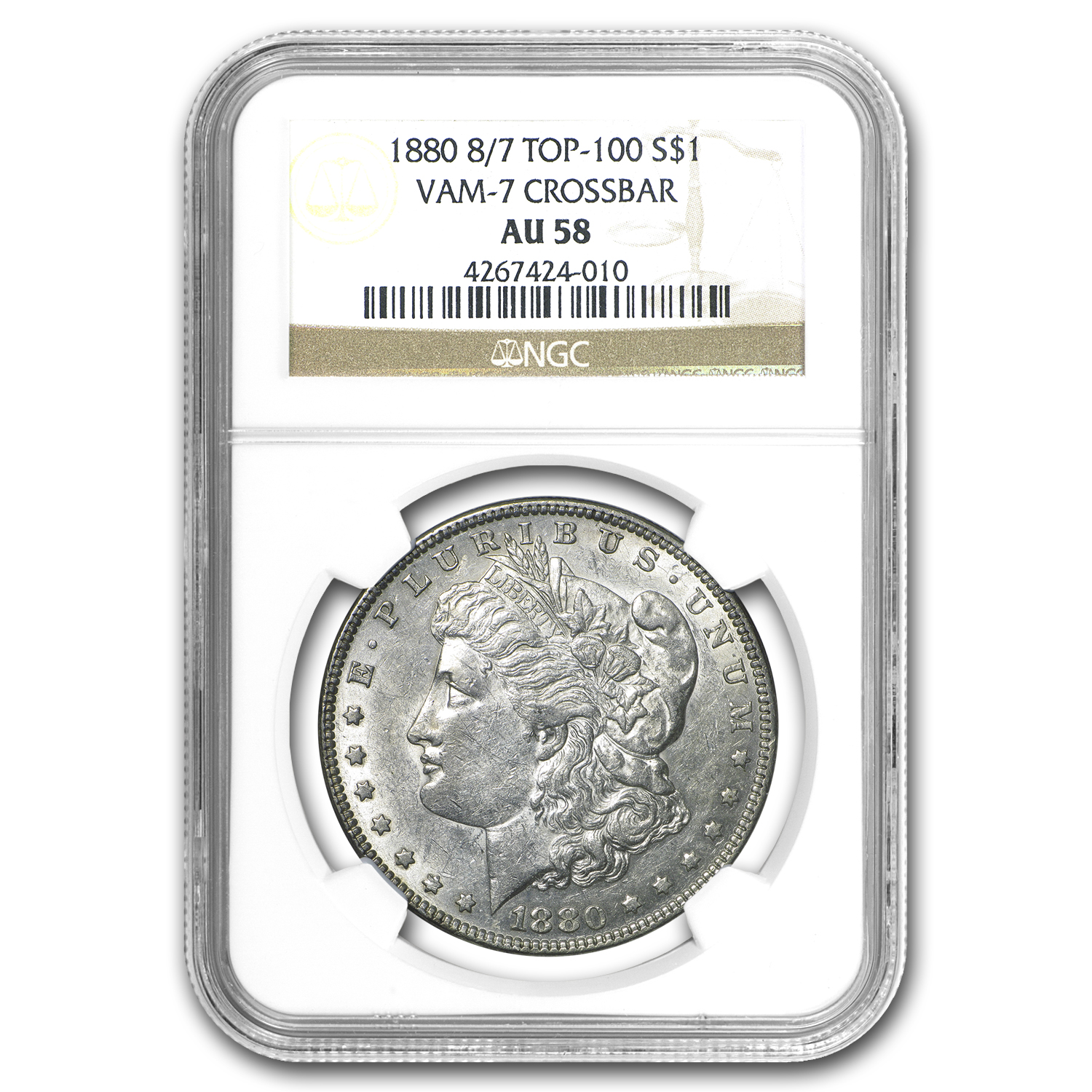 1880 Morgan Dollar AU-58 NGC (VAM-7, 8 over 7 Crossbar)