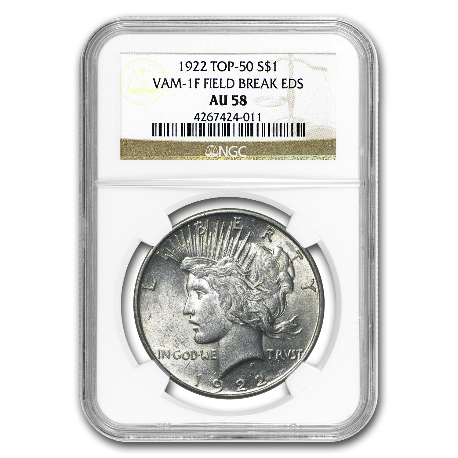 1922 Peace Dollar AU-58 NGC (VAM-1F EDS Field Die Break, Top-50)