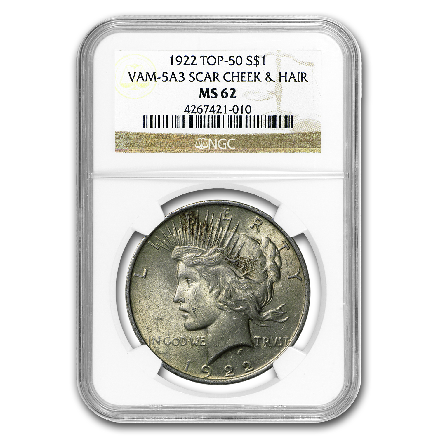 1922 Peace Dollar MS-62 NGC (VAM-5A3, Scar Cheek LDS, Top-50)