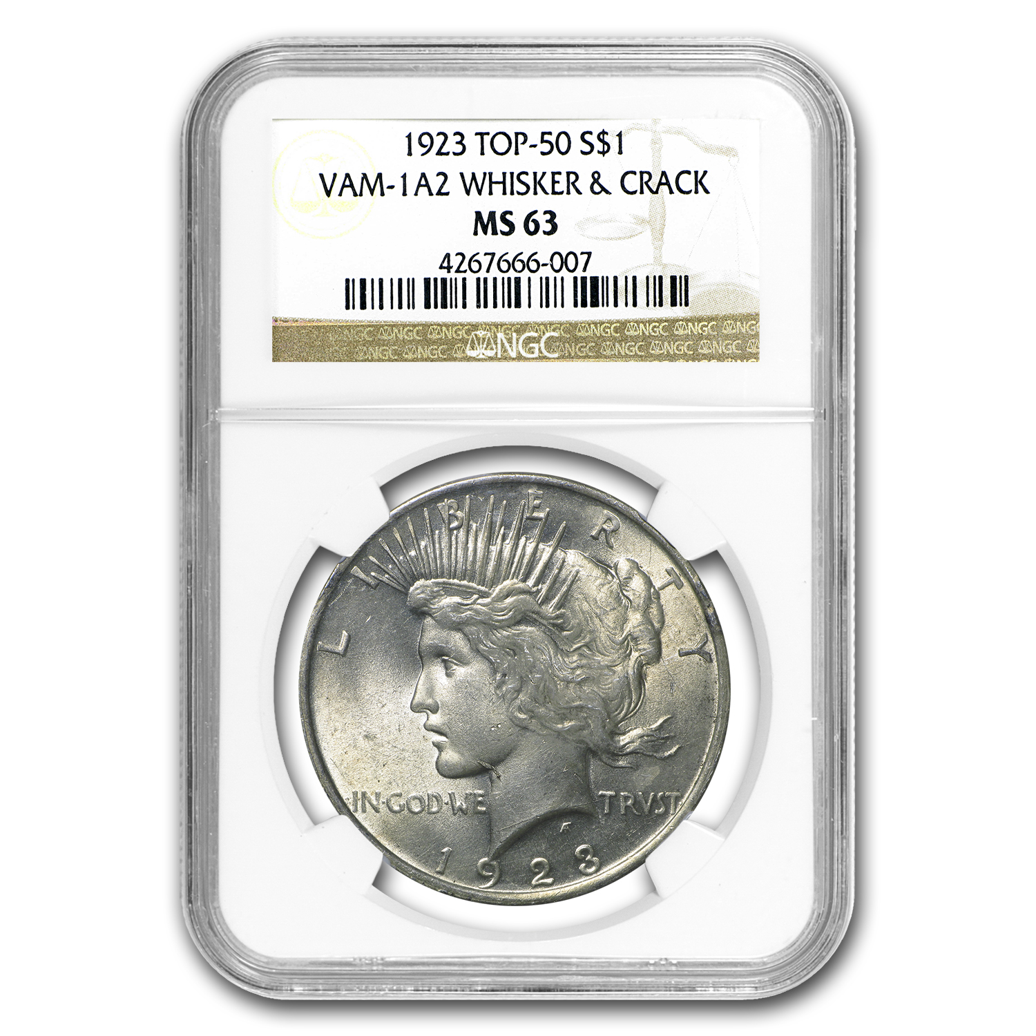 1923 Peace Dollar MS-63 NGC (VAM-1A2, Whisker Jaw, Top-50)