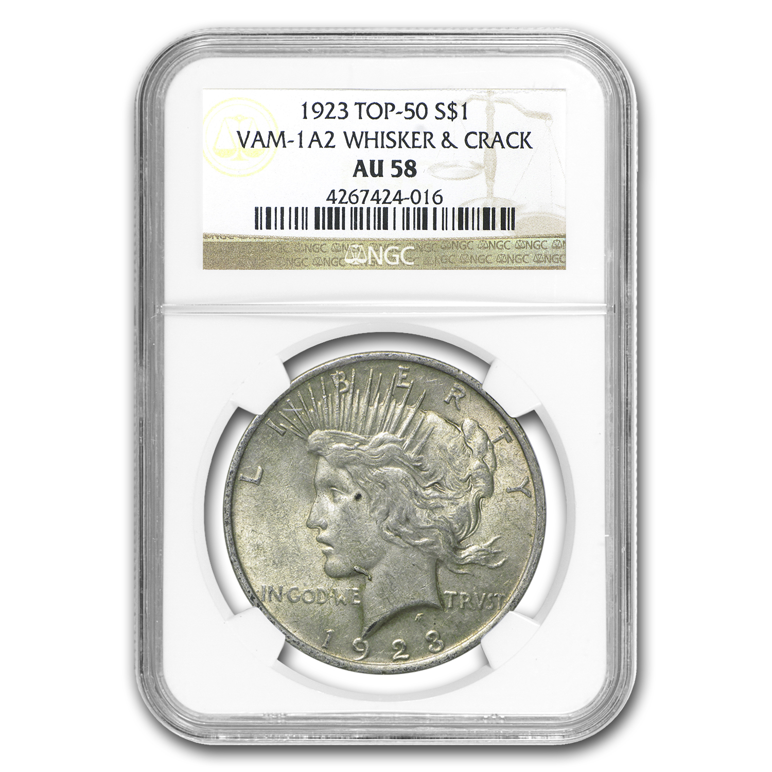 1923 Peace Dollar AU-58 NGC (VAM-1A2, Whisker Jaw, Top-50)