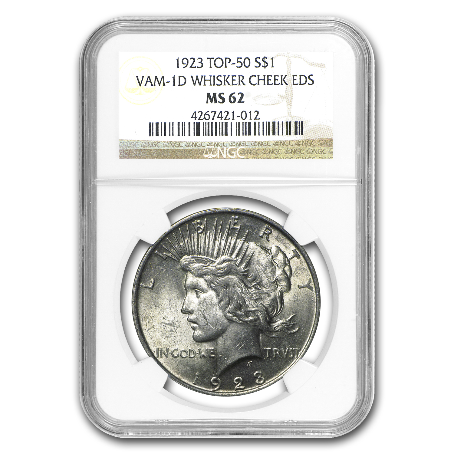 1923 Peace Dollar MS-62 NGC (VAM-1D, Whisker Cheek EDS, Top-50)