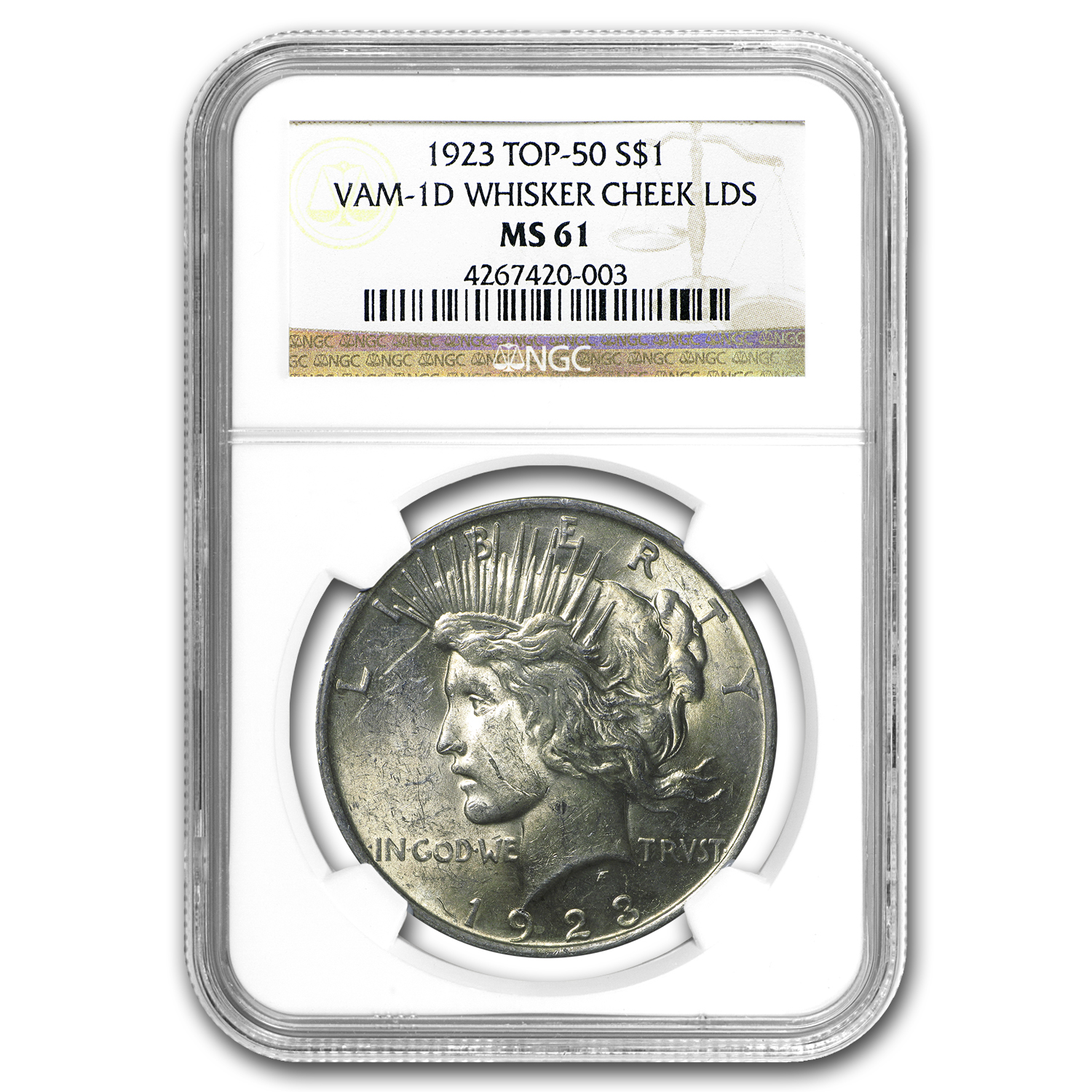 1923 Peace Dollar MS-61 NGC (VAM-1D, Whisker Cheek LDS, Top-50)