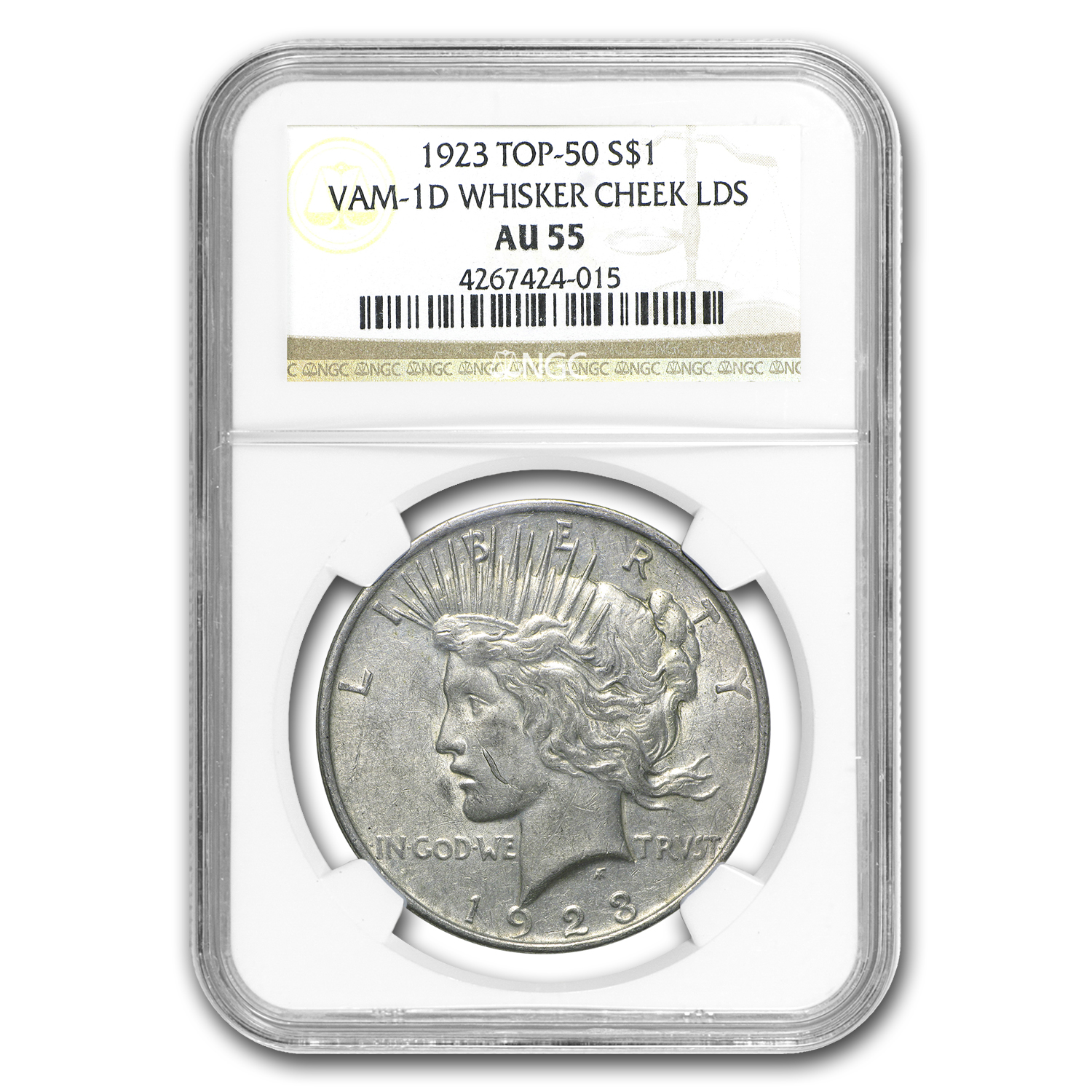 1923 Peace Dollar AU-55 NGC (VAM-1D Whisker Cheek LDS, Top-50)
