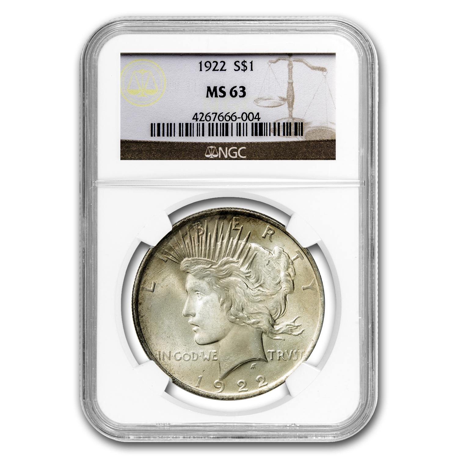1922 Peace Dollar MS-63 NGC (Beautiful Reverse Toning)