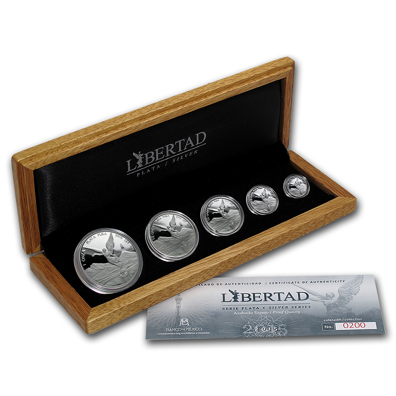 2015 Mexico 5-Coin Silver Libertad Proof Set (1.9 oz, Wood Box)