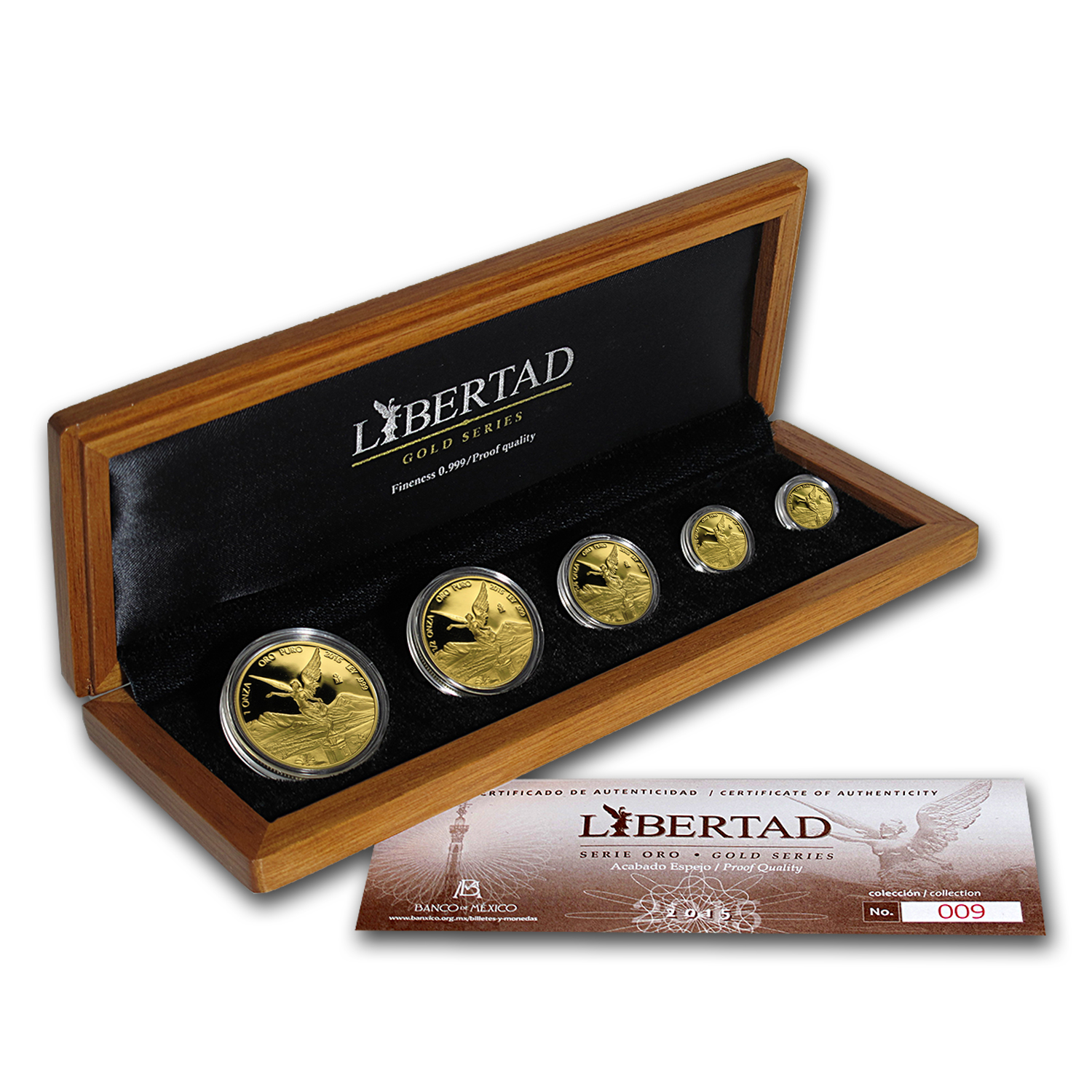 2015 Mexico 5-Coin Gold Libertad Proof Set (1.9 oz, Wood Box)