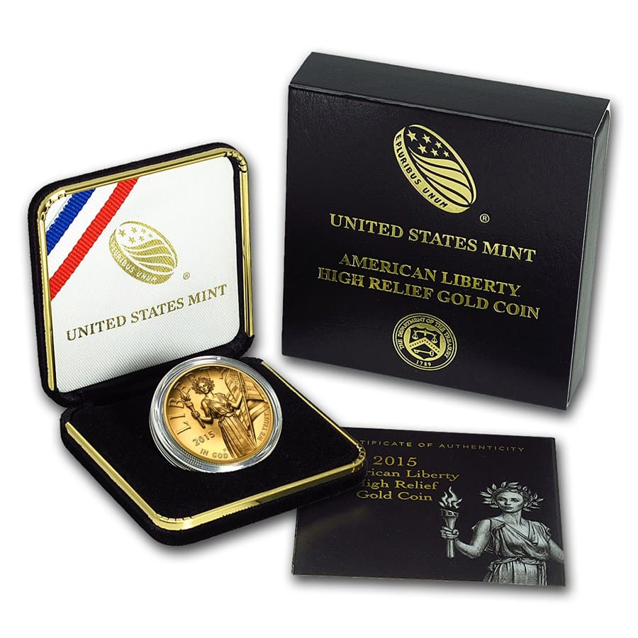 2015 American Liberty High Relief 1 oz Gold Coin (w/Box and COA)
