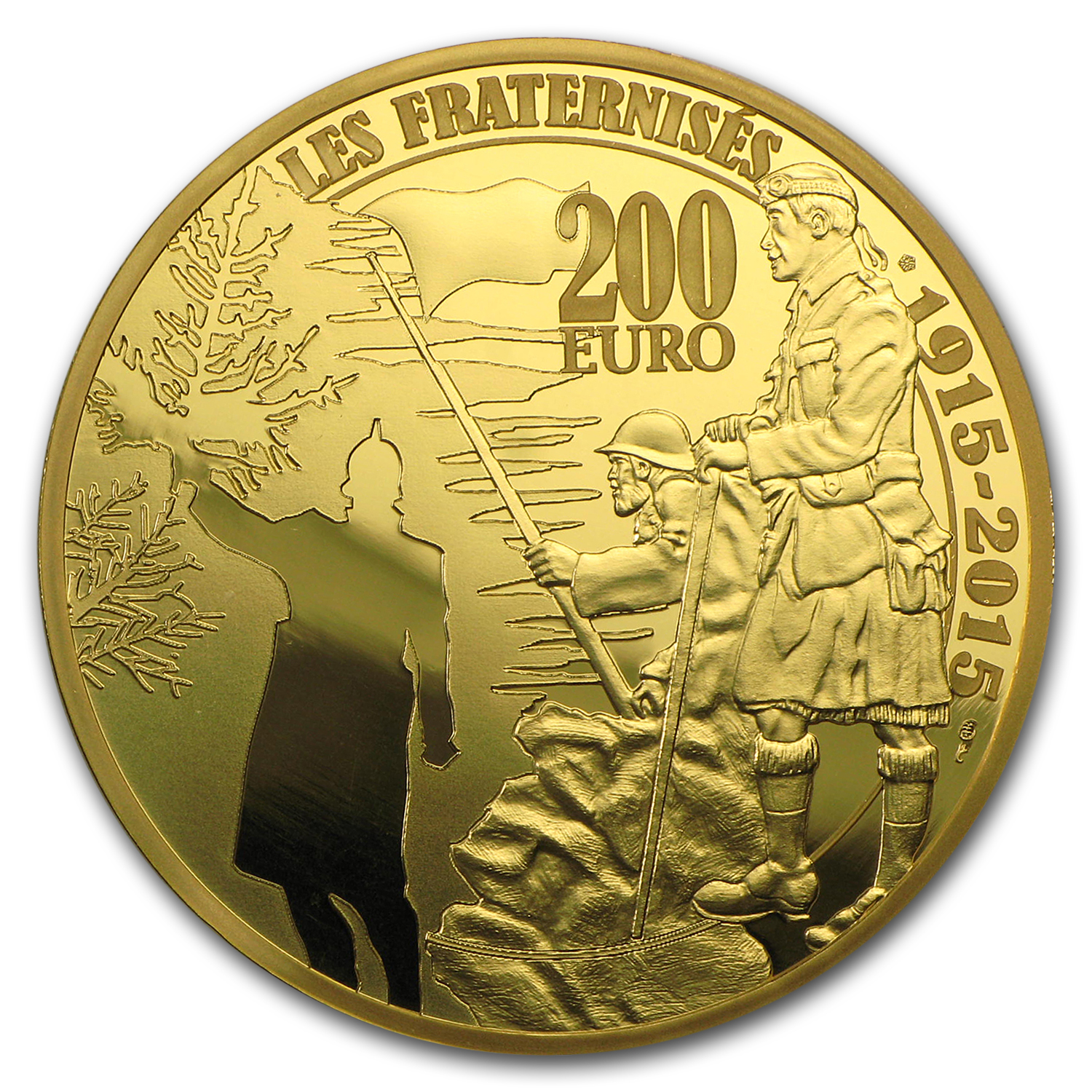 2015 France 1 oz Proof Gold €200 World War I Christmas Truce