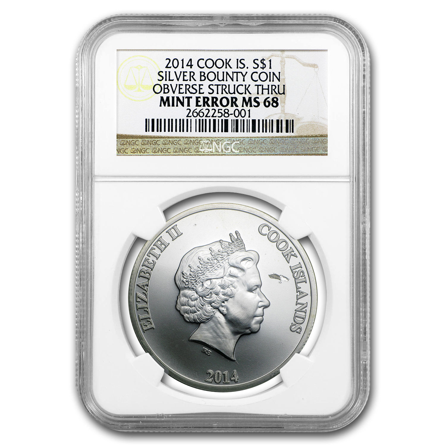 2014 1 oz Silver Bounty Obv Stuck Thru NGC MS-68 (Mint Error)