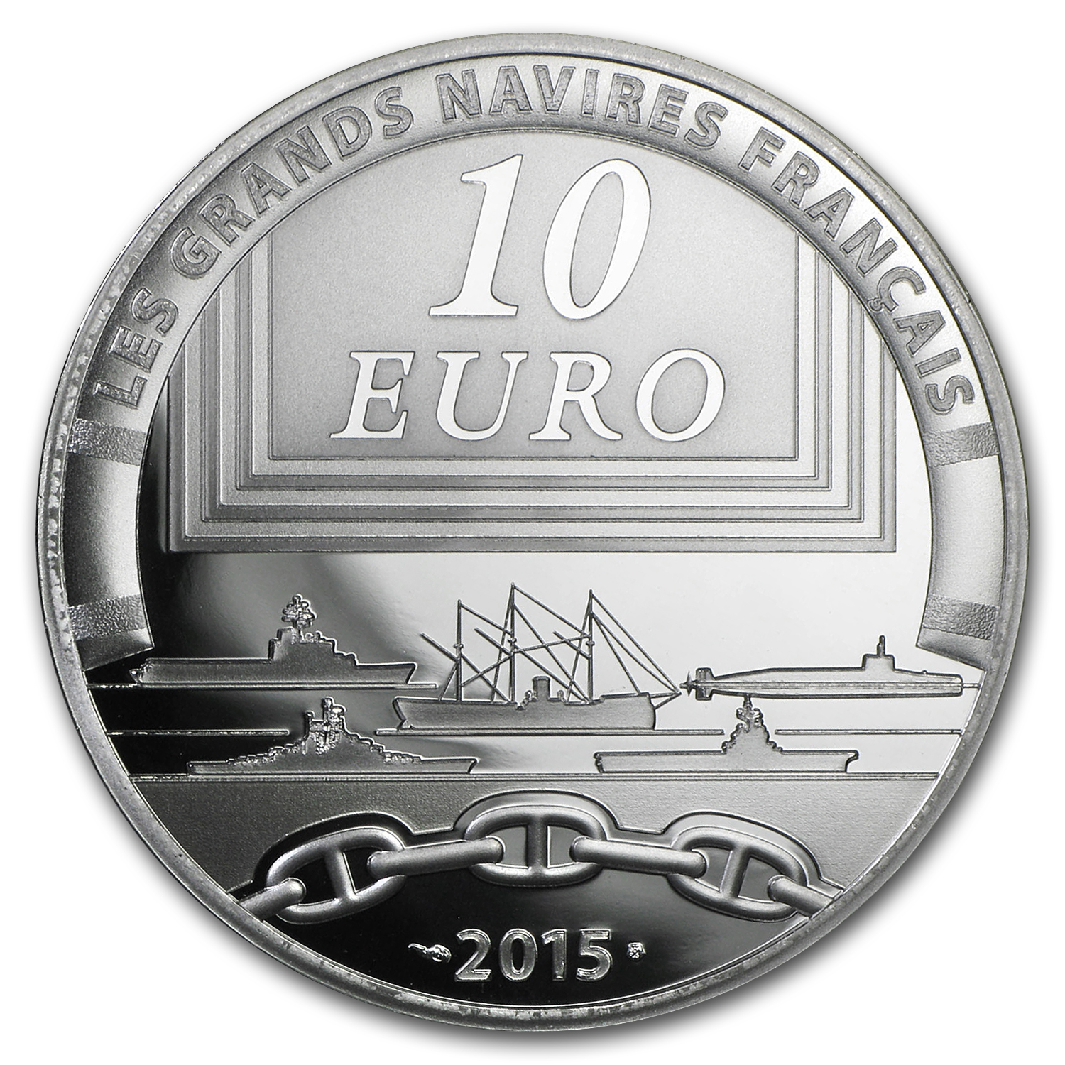 2015 Silver €10 Great French Ships Proof (Le Colbert)