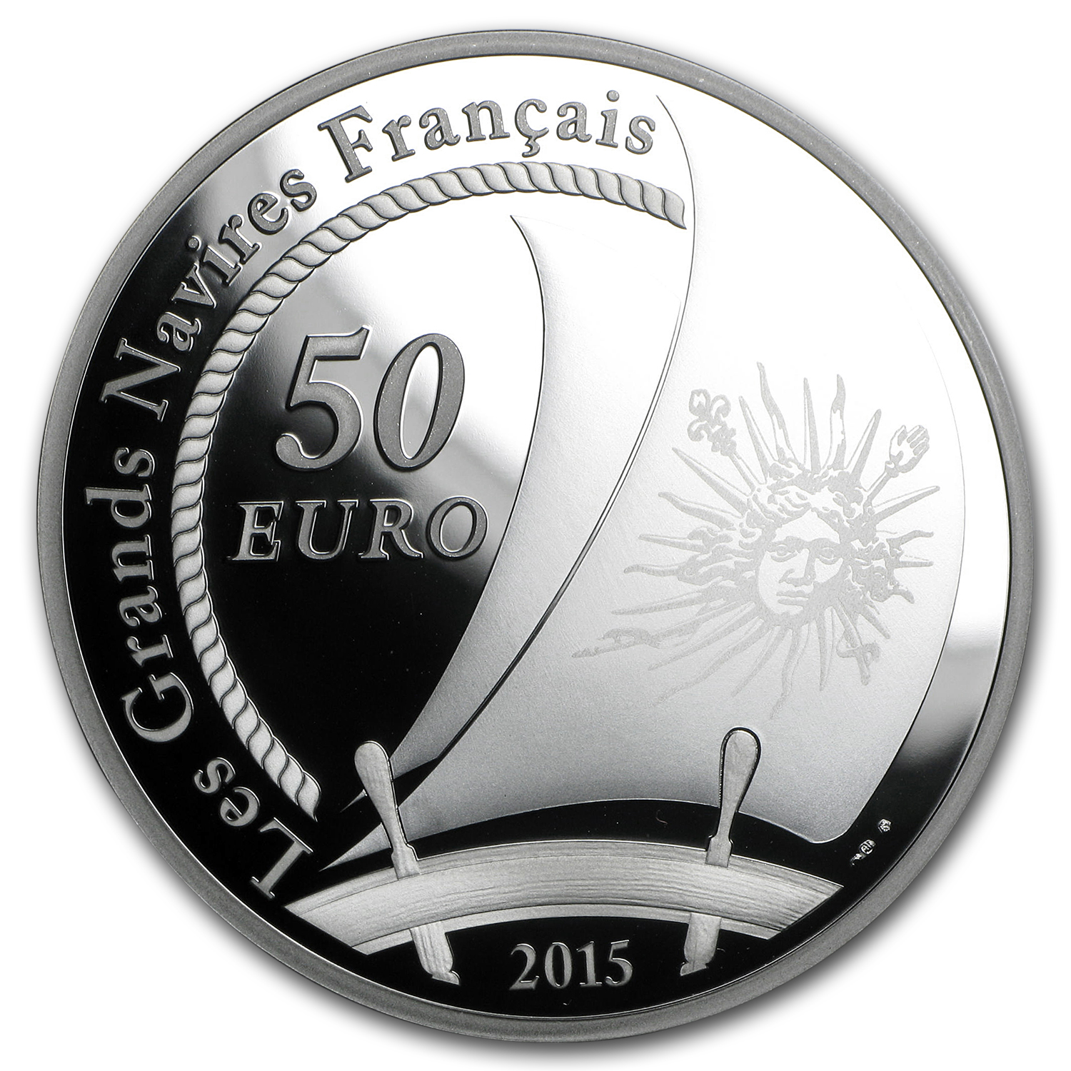2015 5 oz Silver €50 Great French Ships Proof (Soleil Royal)
