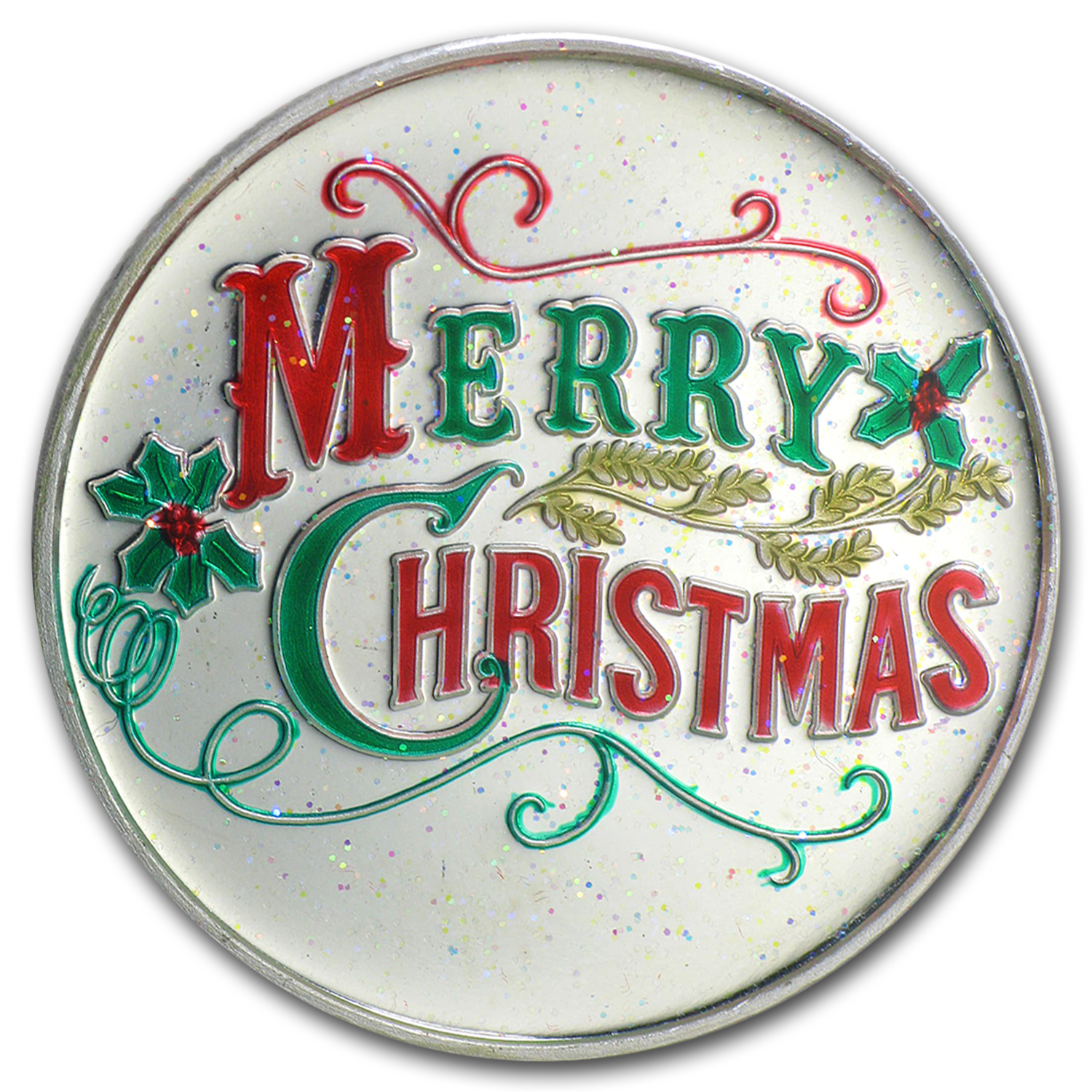 1 Oz Silver Round Merry Christmas Enameled 2015