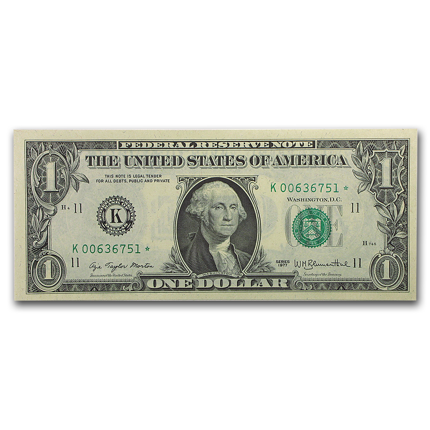 1977* (K-Dallas) $1.00 FRN CU (Star Note)